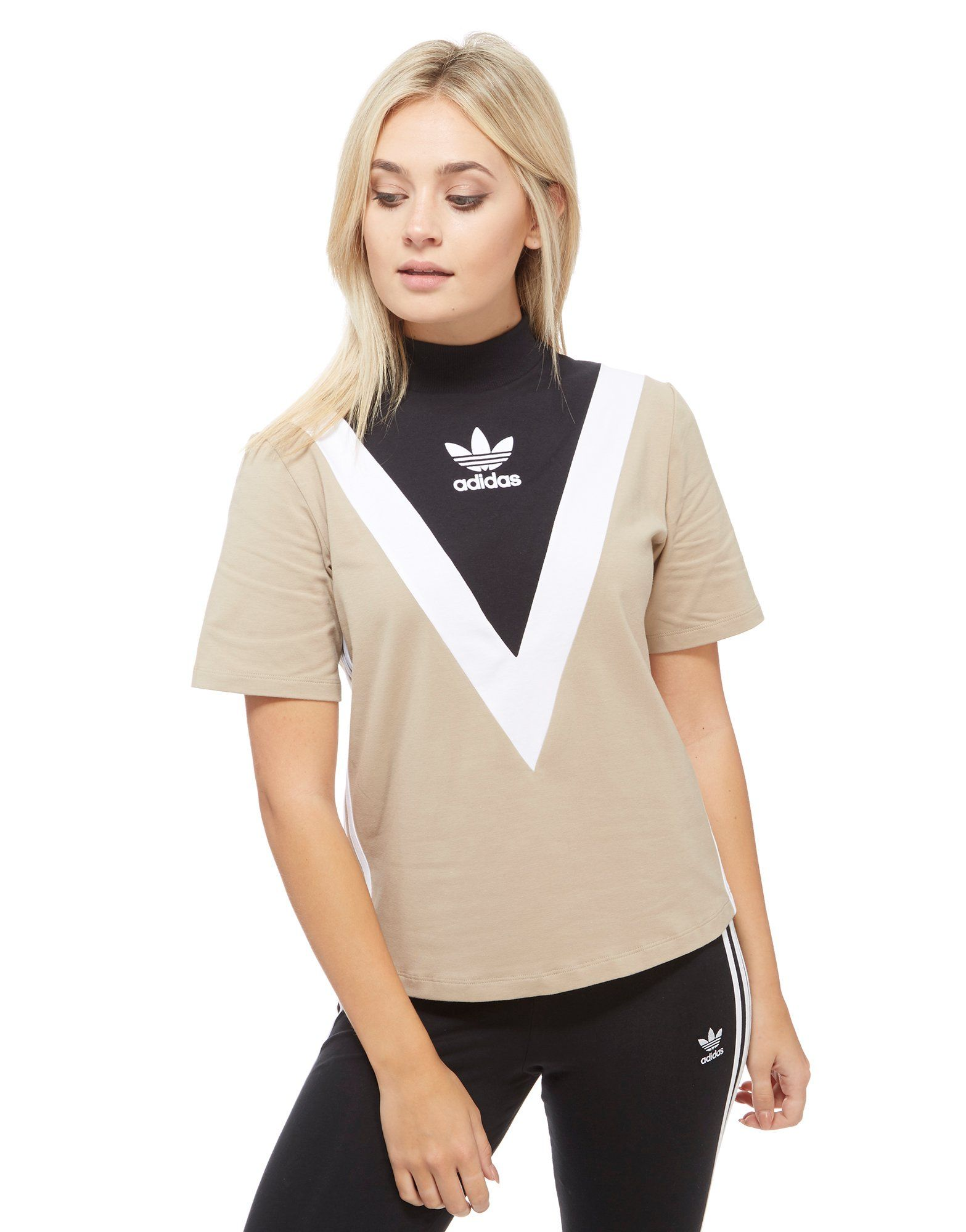 Adidas originals high neck chevron t shirt jd sports for High neck tee shirts