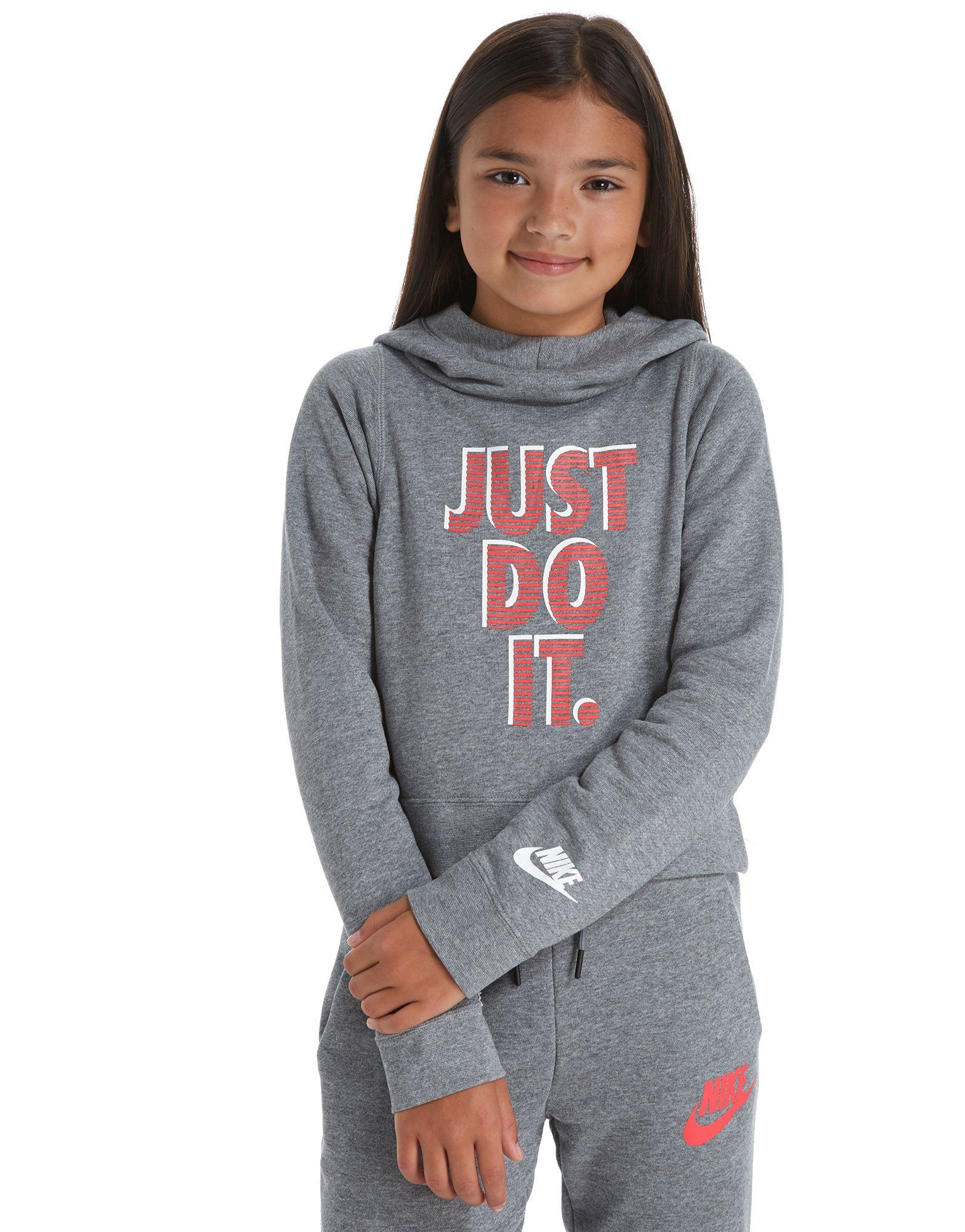 Nike Girls' Just Do It Cropped Hoodie Junior