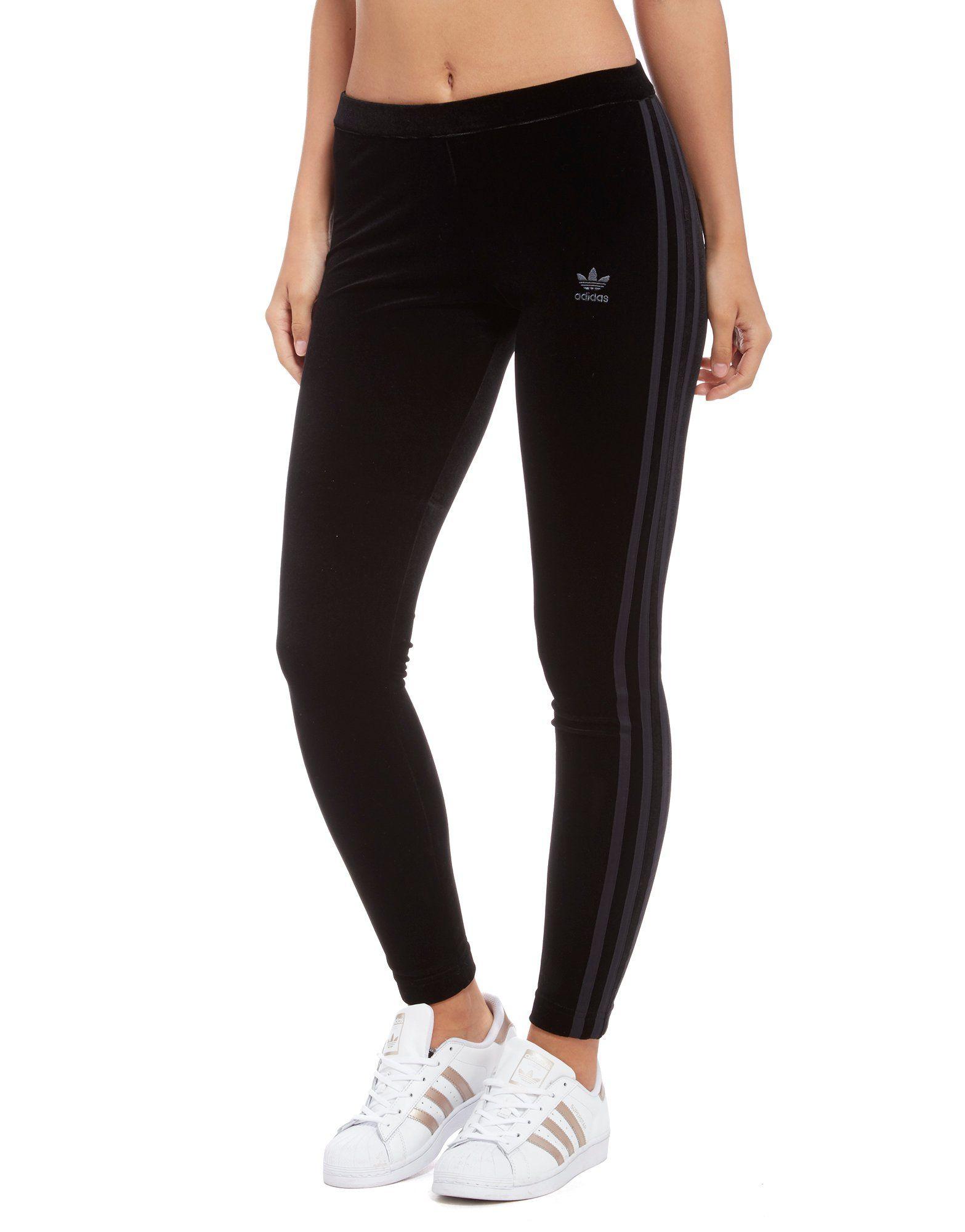 adidas Originals 3-Stripes Trefoil Velvet Leggings