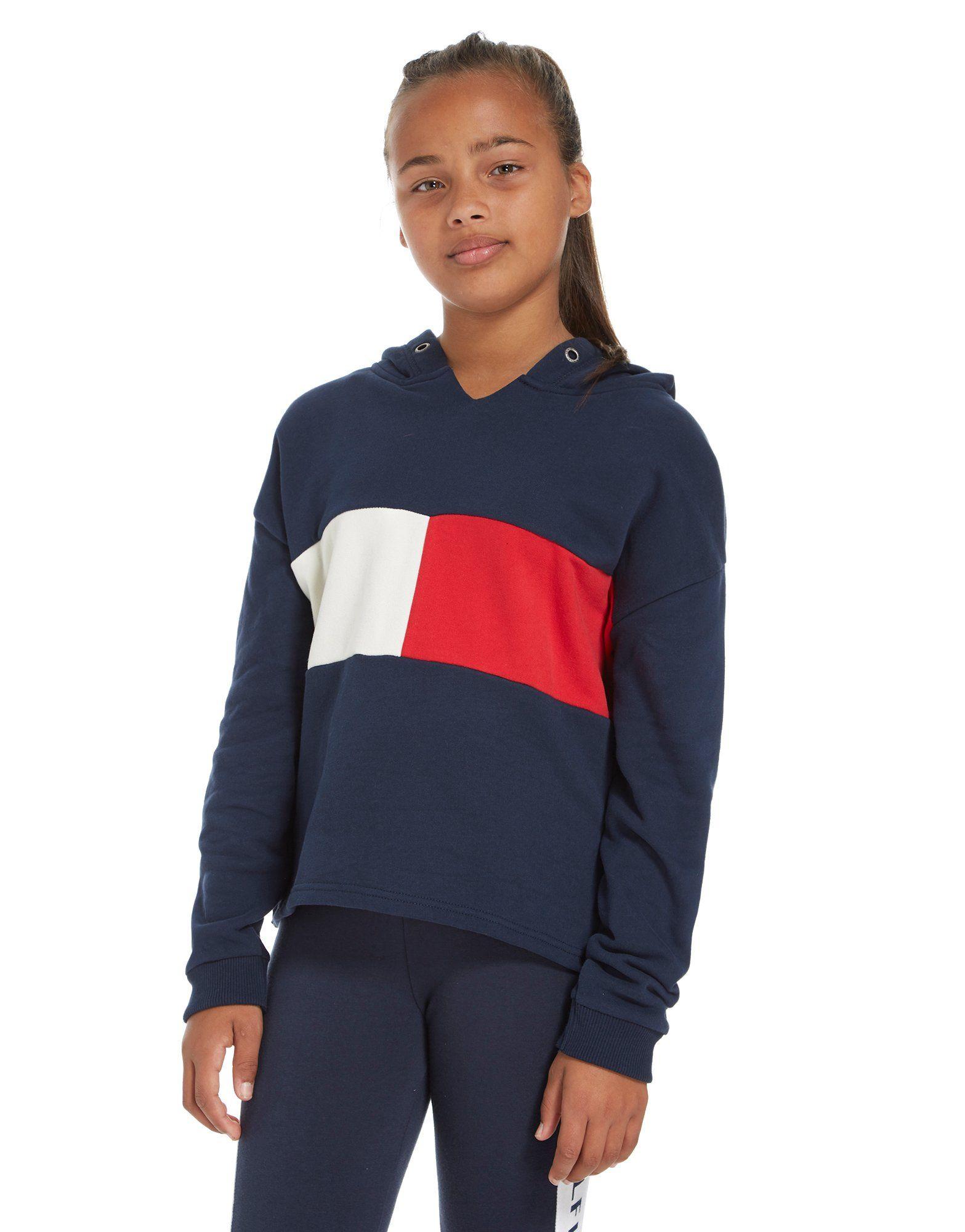 tommy hilfiger girls 39 flag cropped hoodie junior jd sports. Black Bedroom Furniture Sets. Home Design Ideas