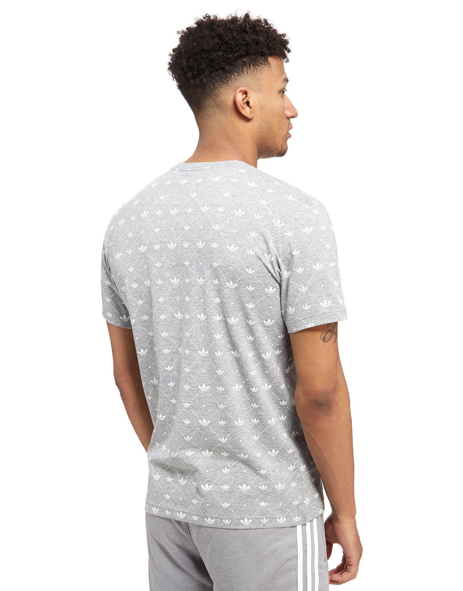 Boyss adidas originali trifoglio tutto stampare t - shirt.