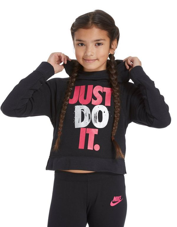 a85c44df9a80 Nike Girls  Just Do It Cropped Hoodie Junior