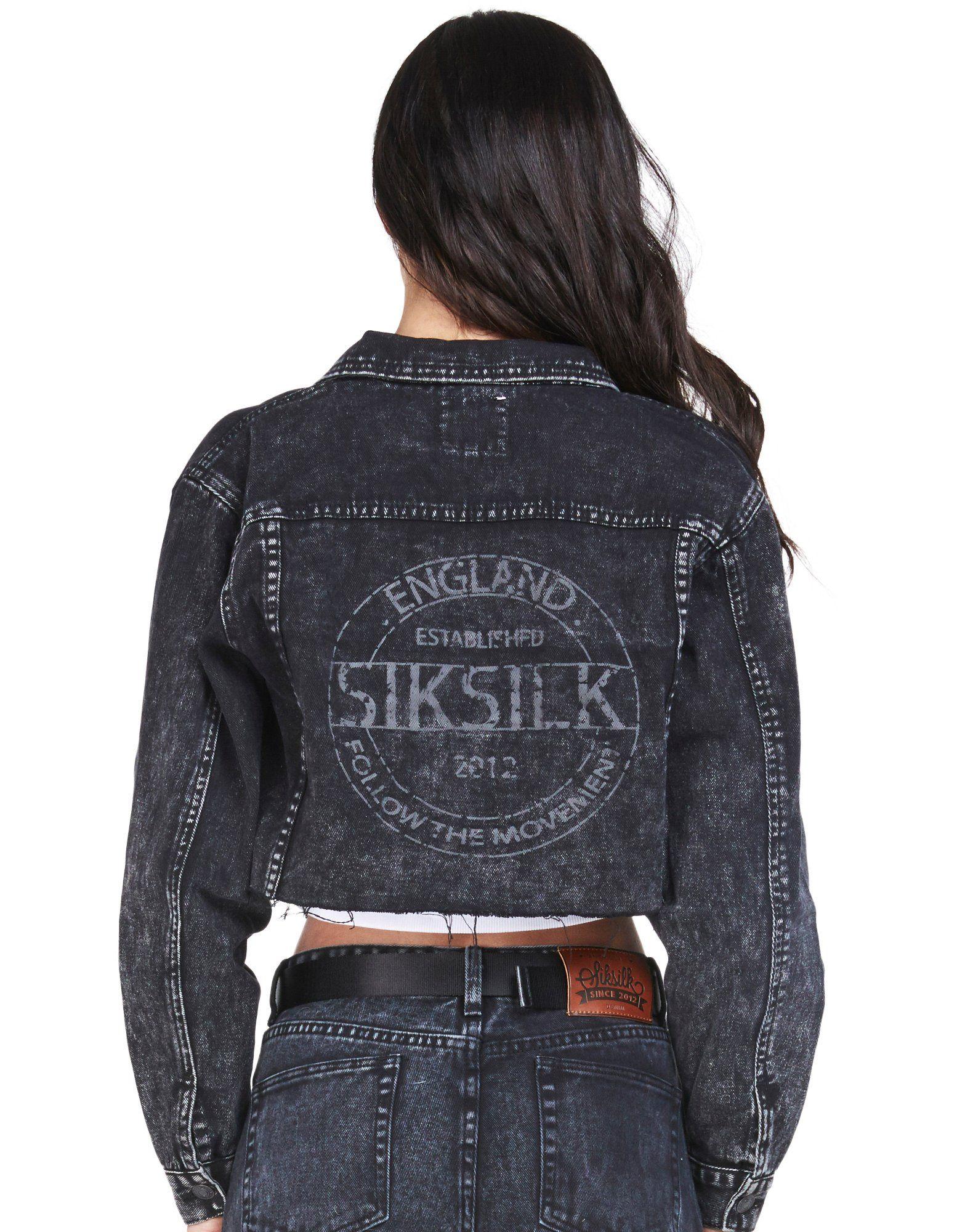 SikSilk Raw Edge Crop Denim Jacket