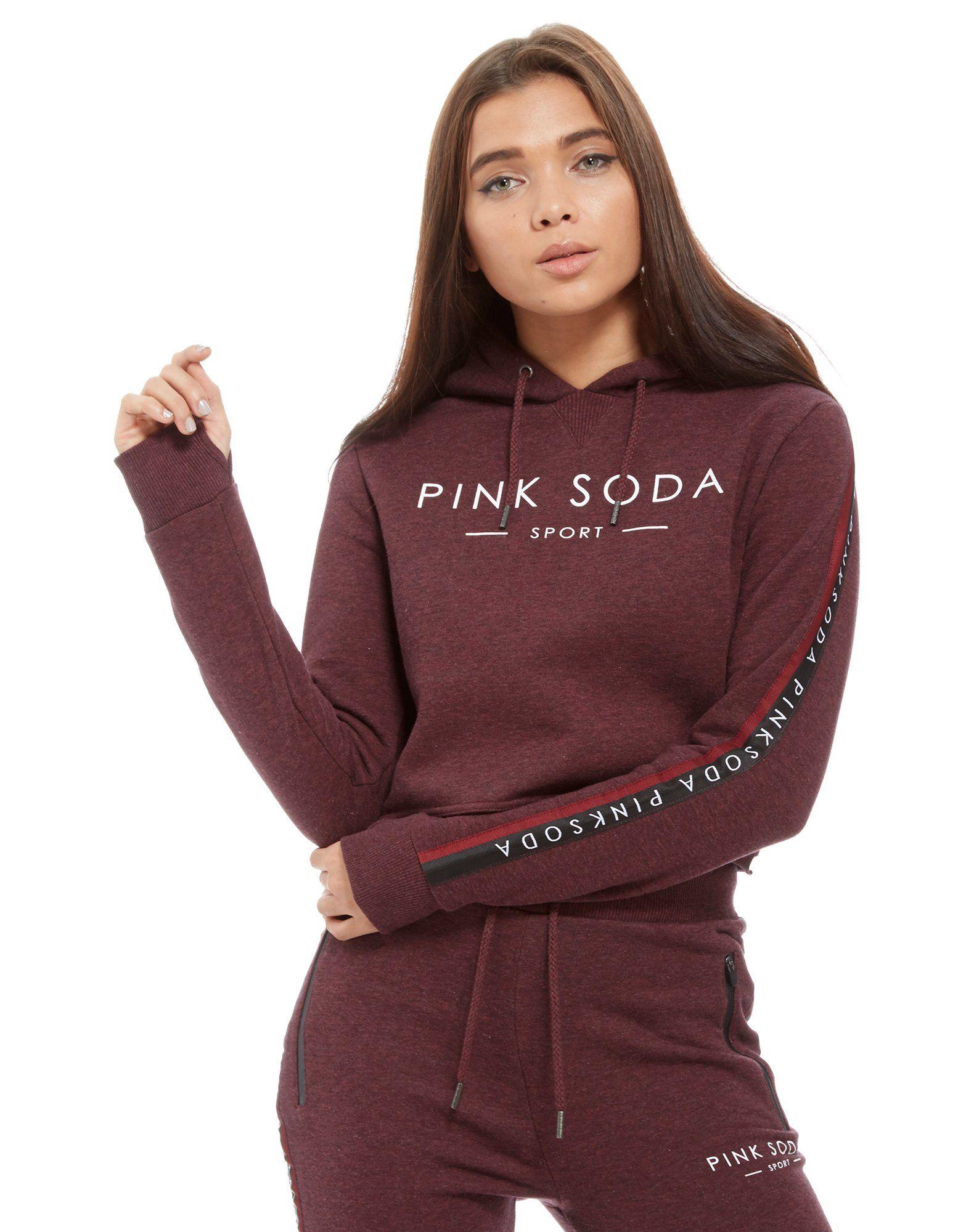 pink soda sport cropped overhead hoodie jd sports