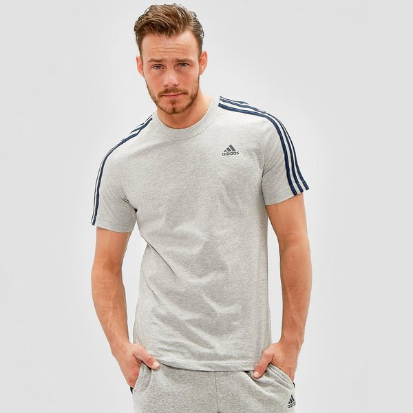 Shirt Adidas Stripes Essentials 3 Heren Grijs wPkuXOilZT