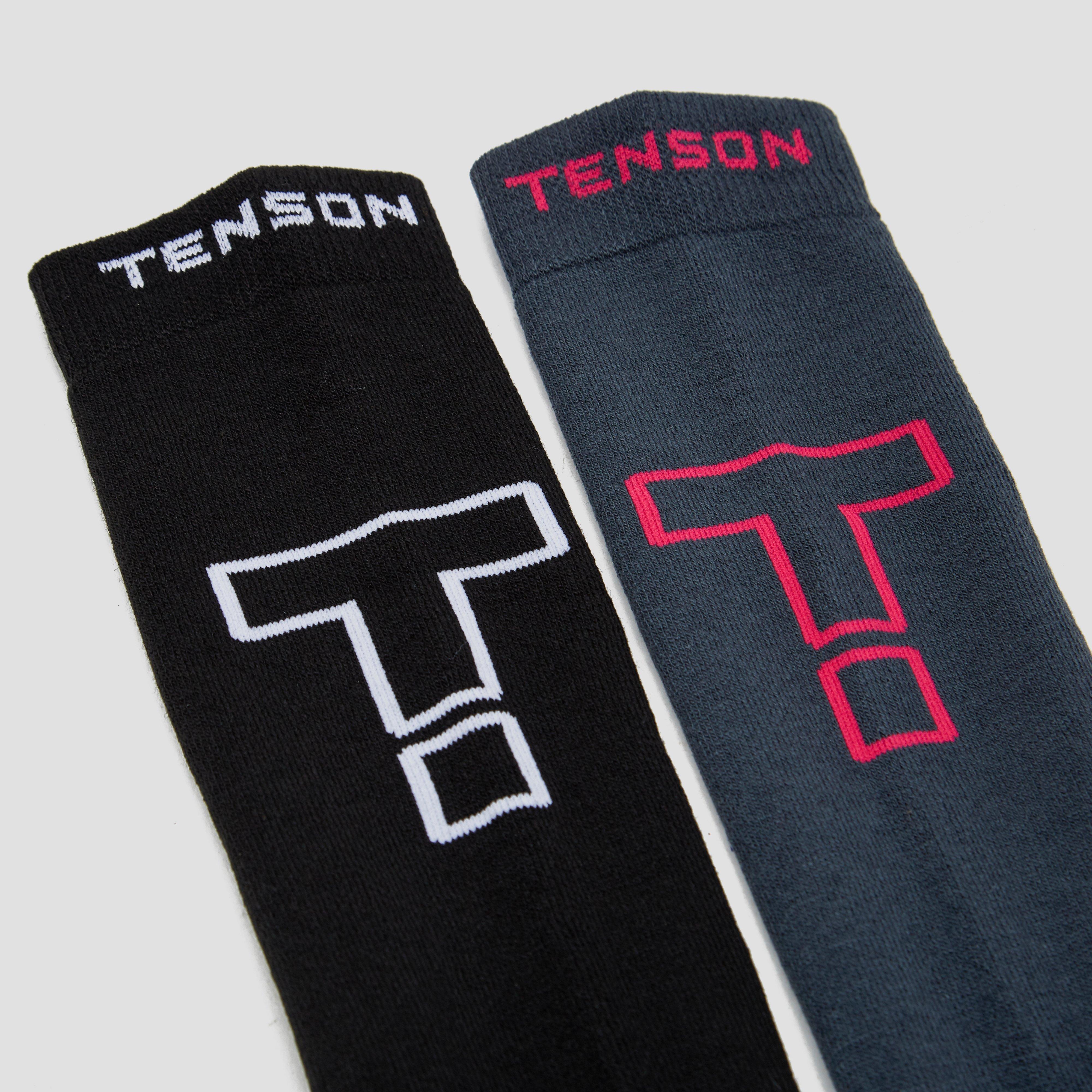 TENSON CORE PERFORMANCE SKISOKKEN 2-PACK ZWART/WIT EN GRIJS/ROZE DAMES
