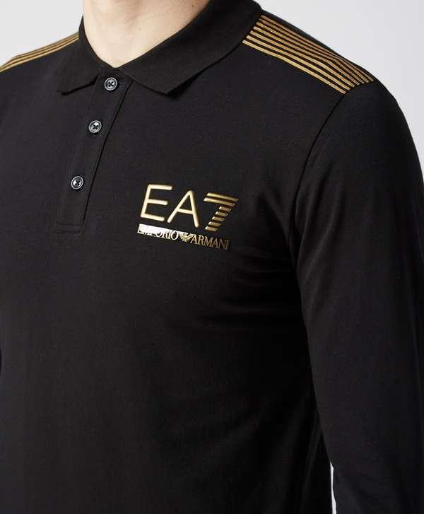 emporio armani ea7 gold evo long sleeve polo shirt exclusive. Black Bedroom Furniture Sets. Home Design Ideas