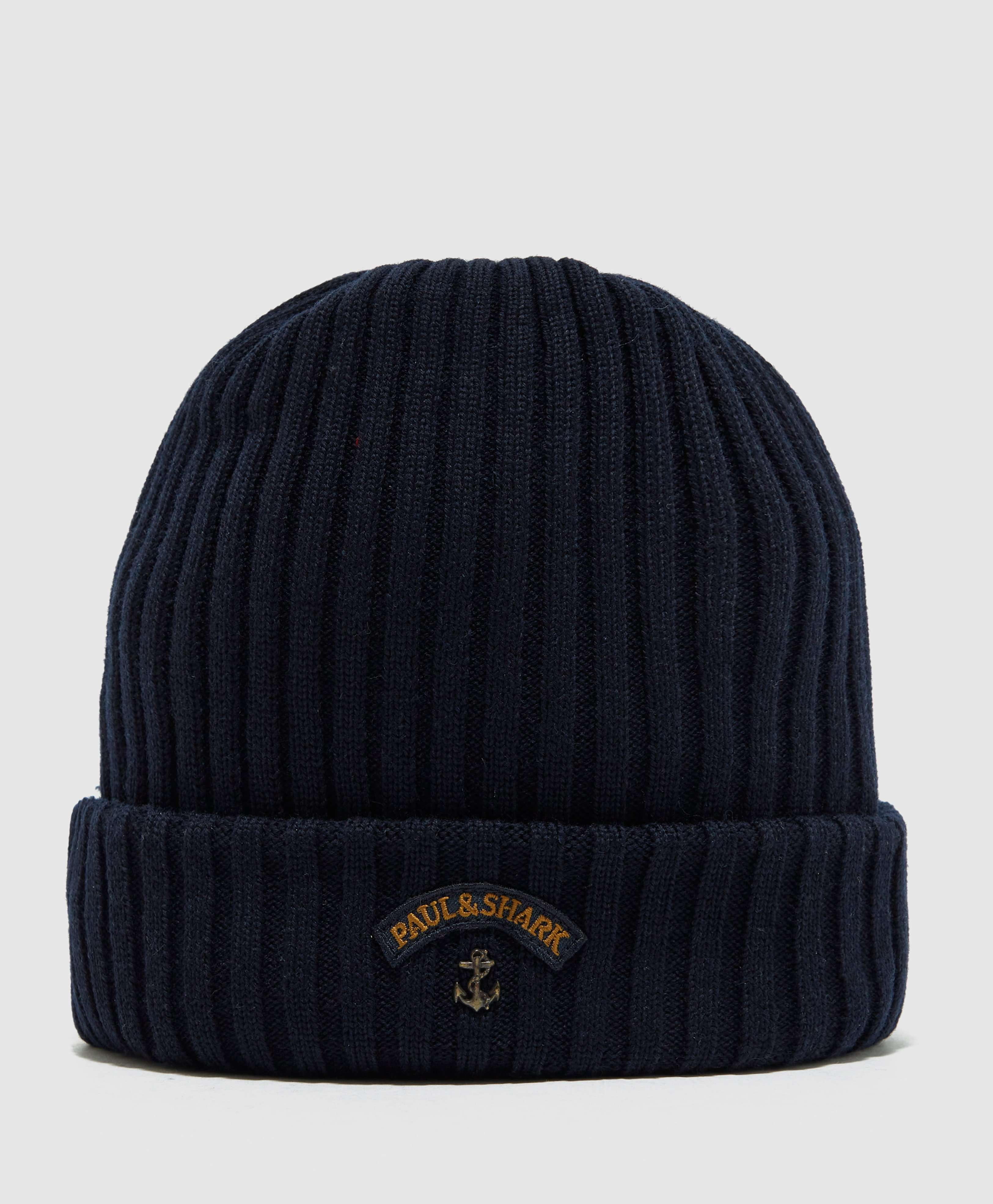 Paul and Shark Ribbed Knitted Logo Beanie ... 7a93dc36e65