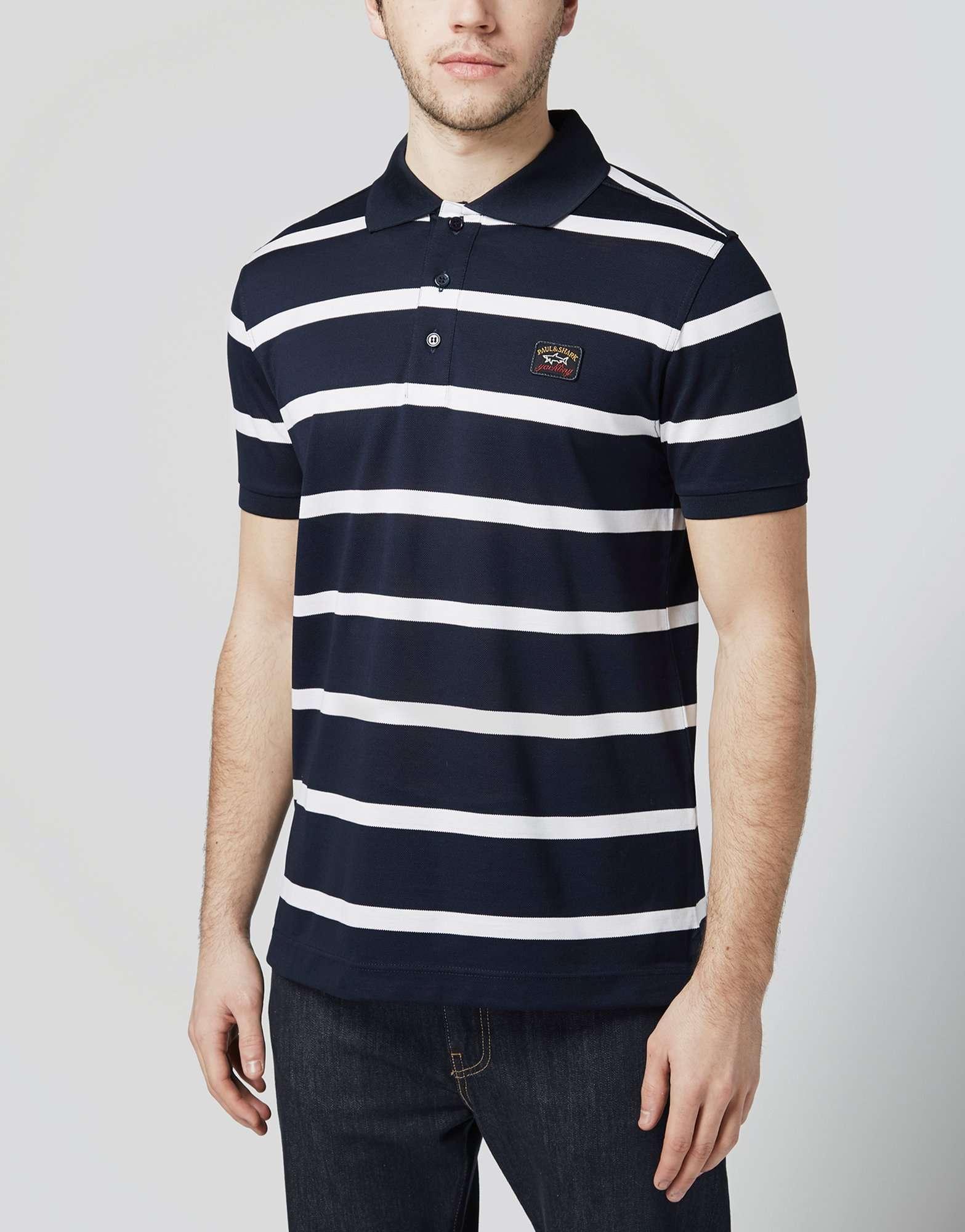 paul and shark stripe polo shirt scotts menswear. Black Bedroom Furniture Sets. Home Design Ideas