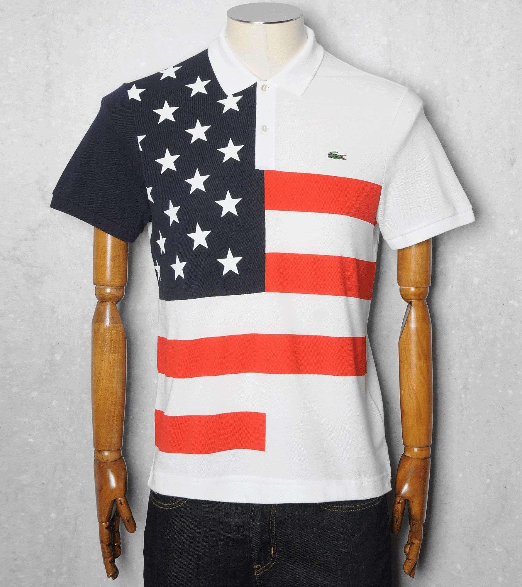 b694fc911dbafc Lacoste USA Flag Polo Shirt