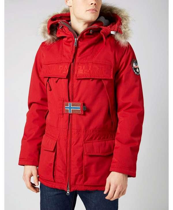 Napapijri Real Fur Hood Parka Red Mens
