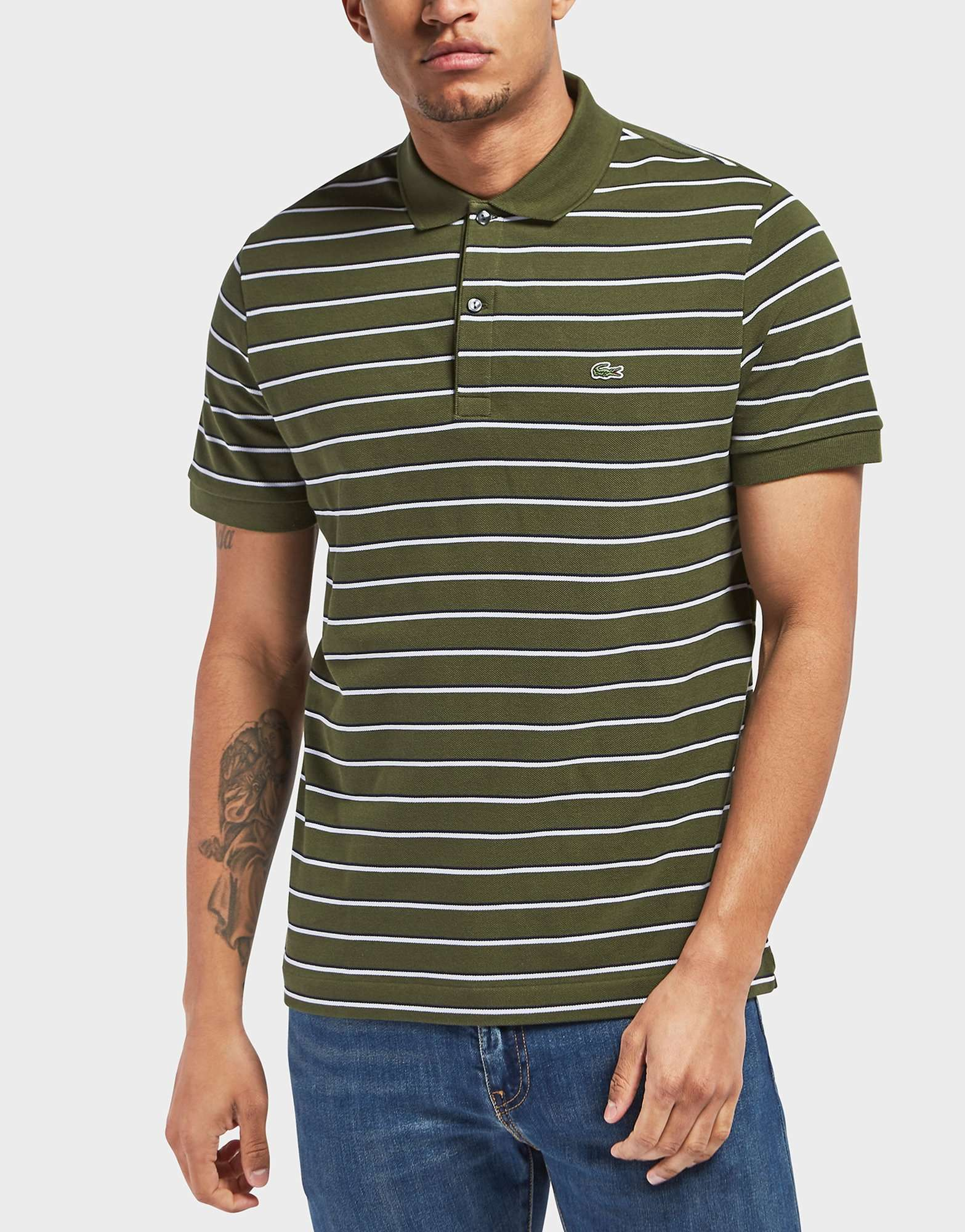 Lacoste Pique Stripe Short Sleeve Polo Shirt