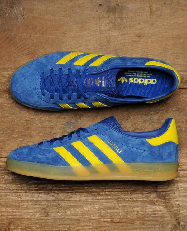 adidas gazelle blue with yellow stripes