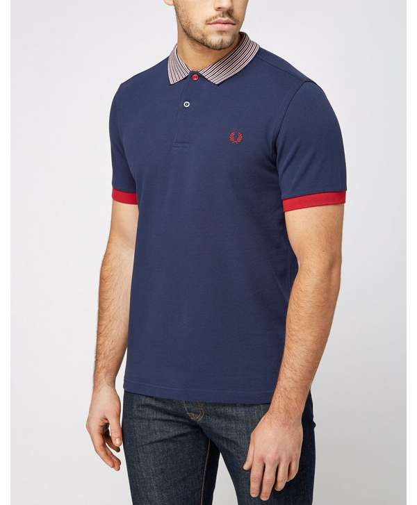 Fred Perry Stripe Collar Polo Shirt Scotts Menswear