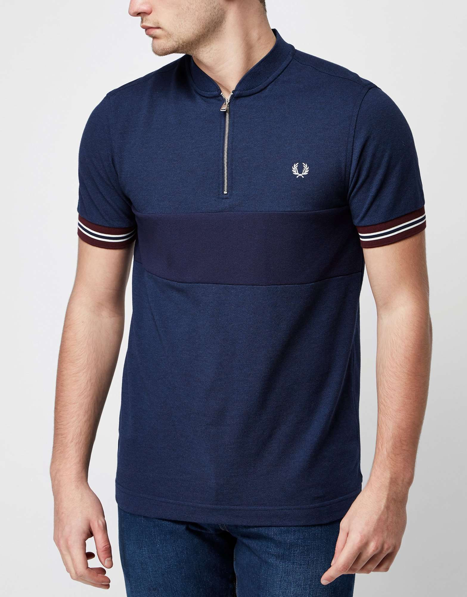 fred perry bomber textured polo shirt scotts menswear. Black Bedroom Furniture Sets. Home Design Ideas