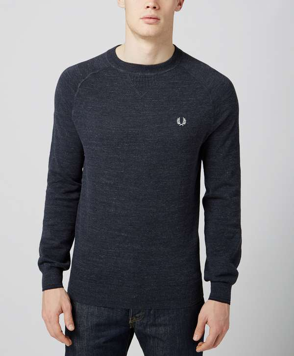 fred perry marl crew neck sweat scotts menswear. Black Bedroom Furniture Sets. Home Design Ideas