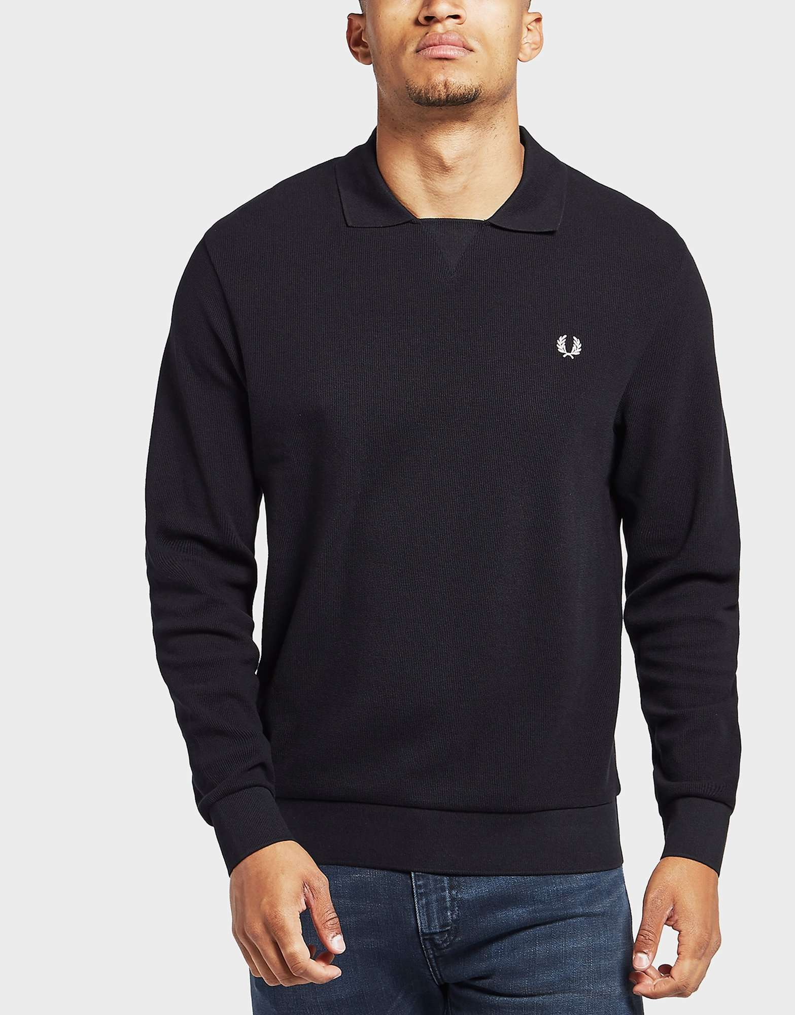 Fred Perry V Insert Waffle Long Sleeve Polo Shirt