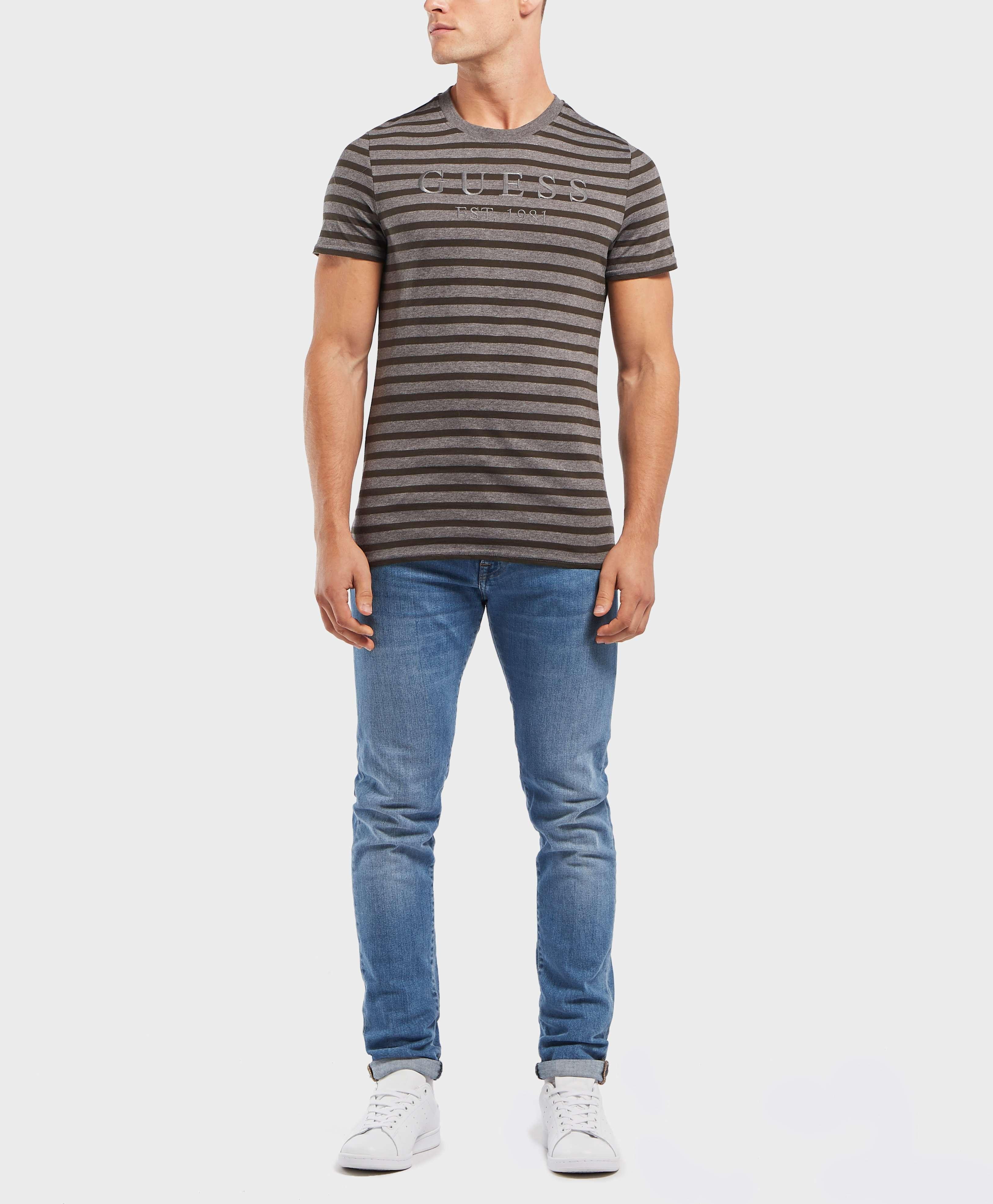 GUESS Stripe Short Sleeve Logo T-Shirt