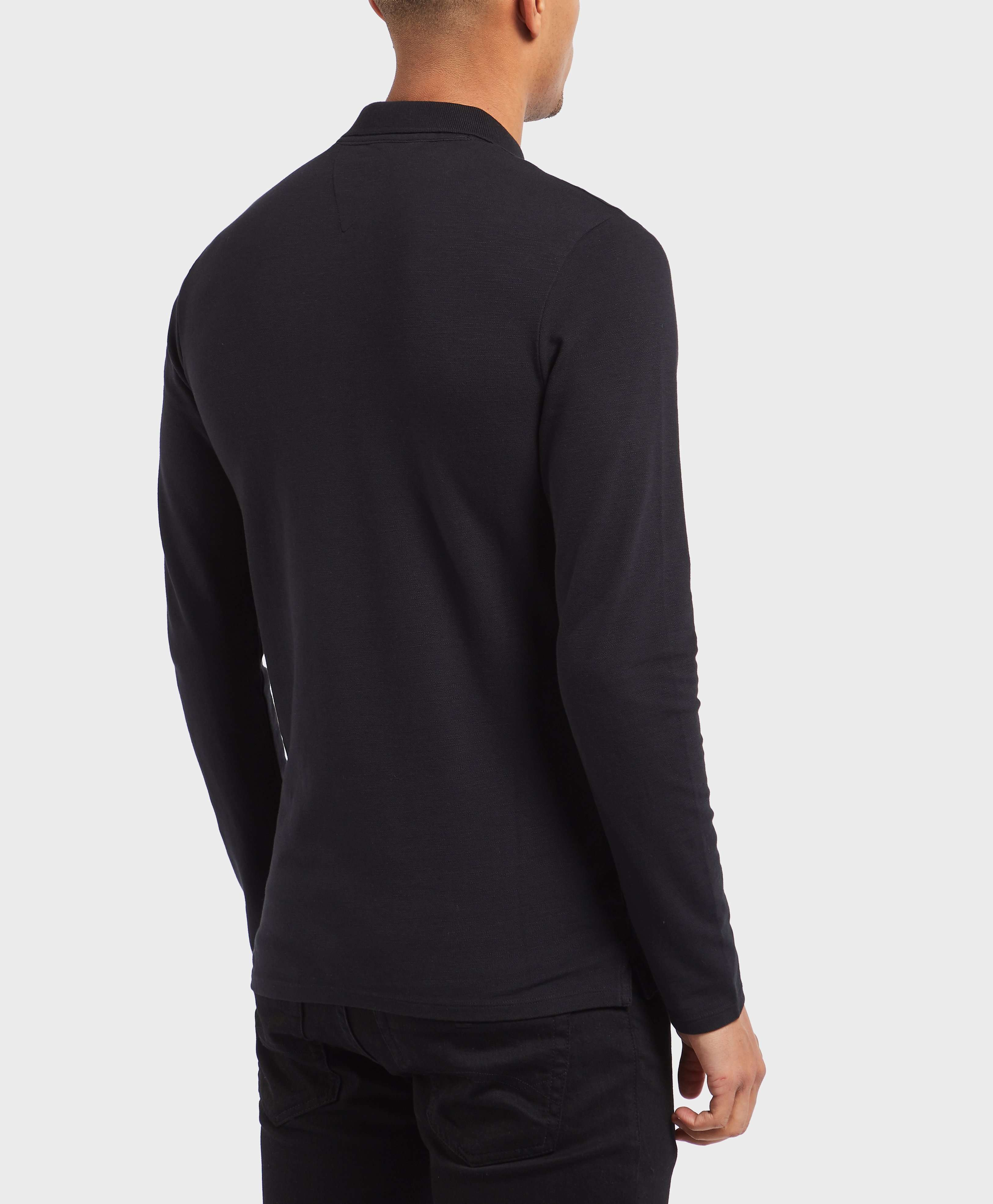 GUESS Garment Dyed Long Sleeve Polo Shirt