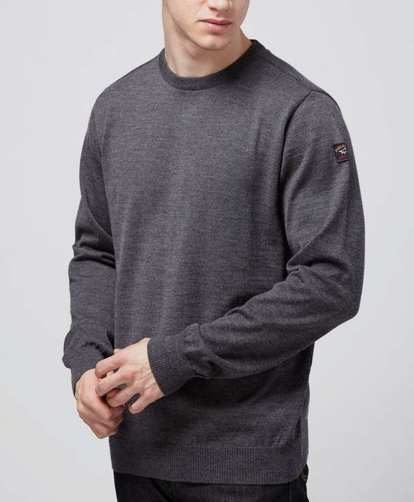 Paul and Shark Crew Neck Knit - Charcoal