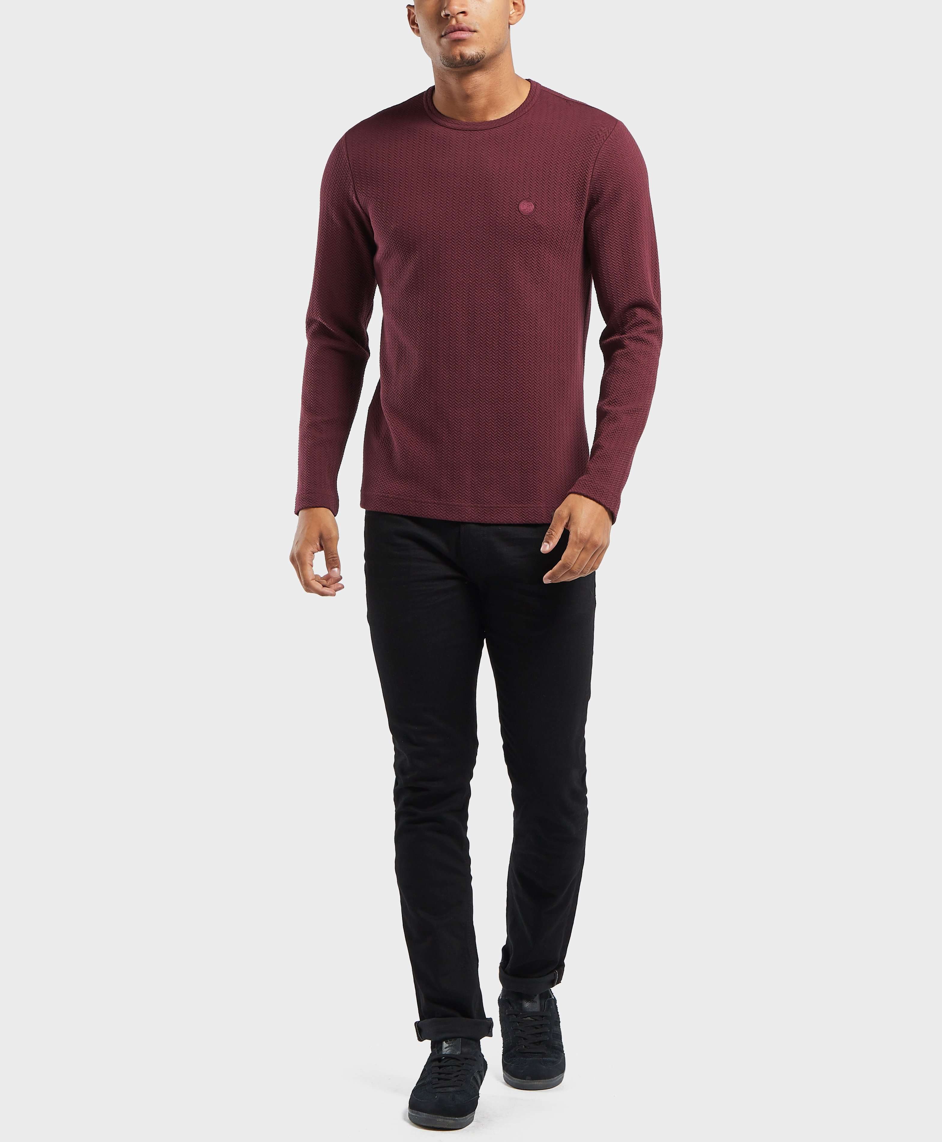Pretty Green Percy Textured Long Sleeve T-Shirt - Exclusive