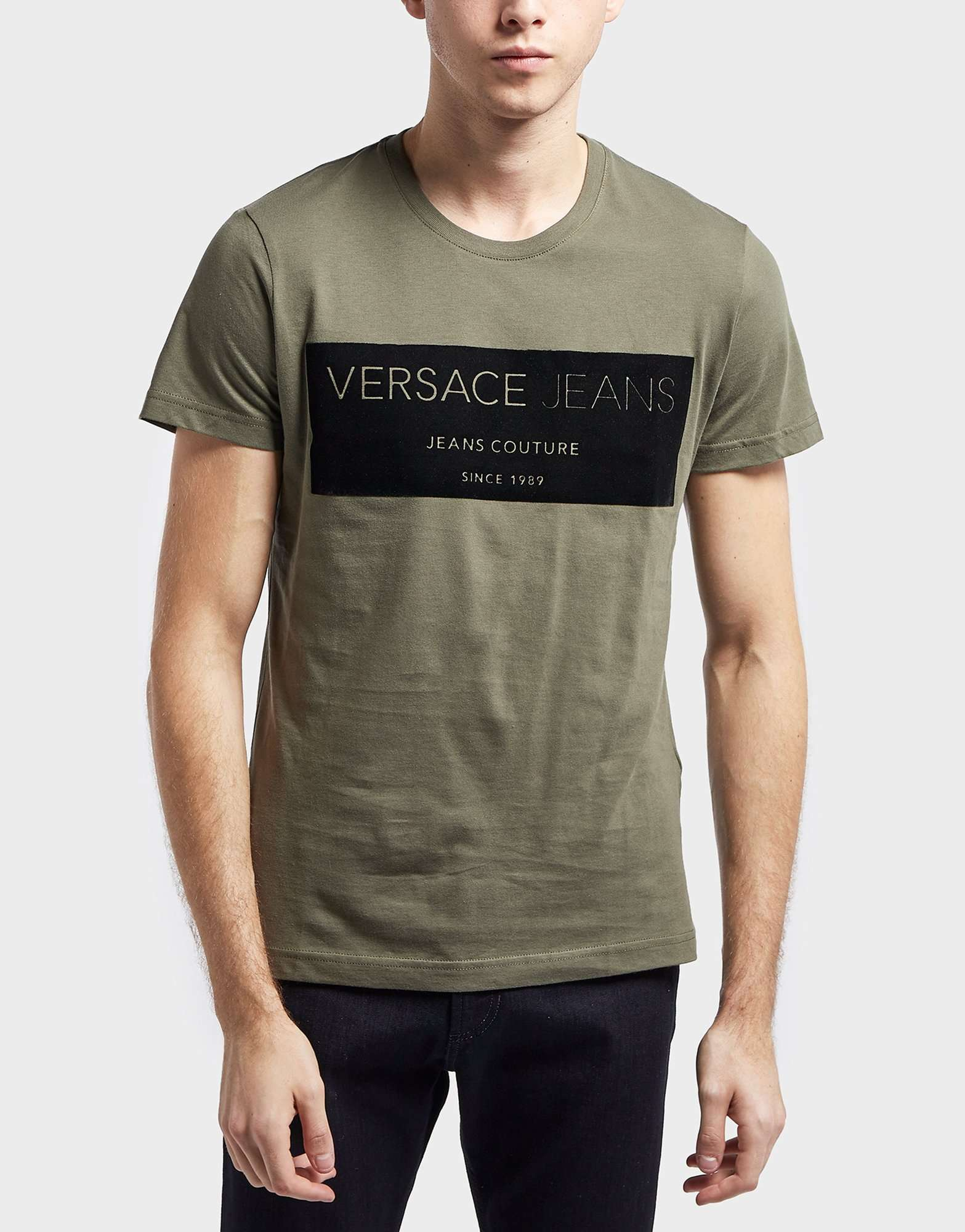 Versace Jeans Flock Square Logo Short Sleeve T-Shirt