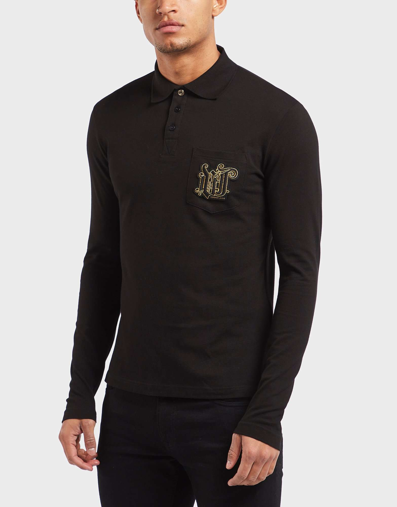 Versace Jeans Stitch Logo Long Sleeve Polo Shirt