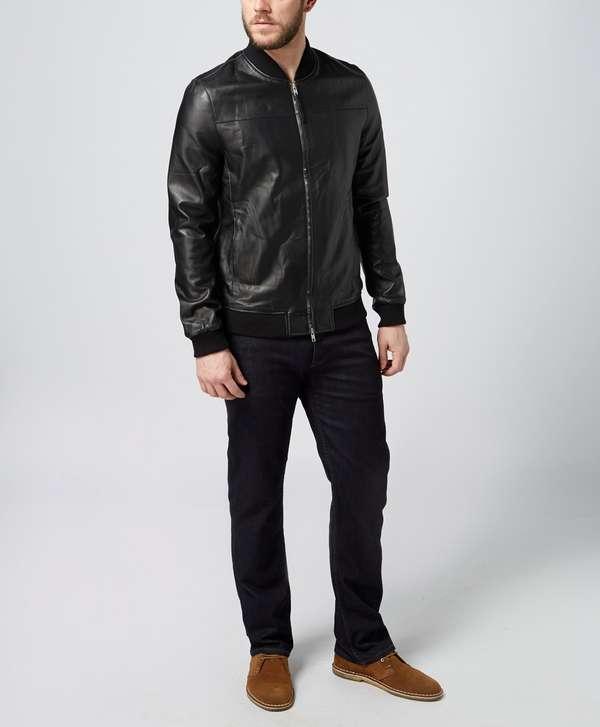 Pretty Green Leather Bomber | scotts Menswear