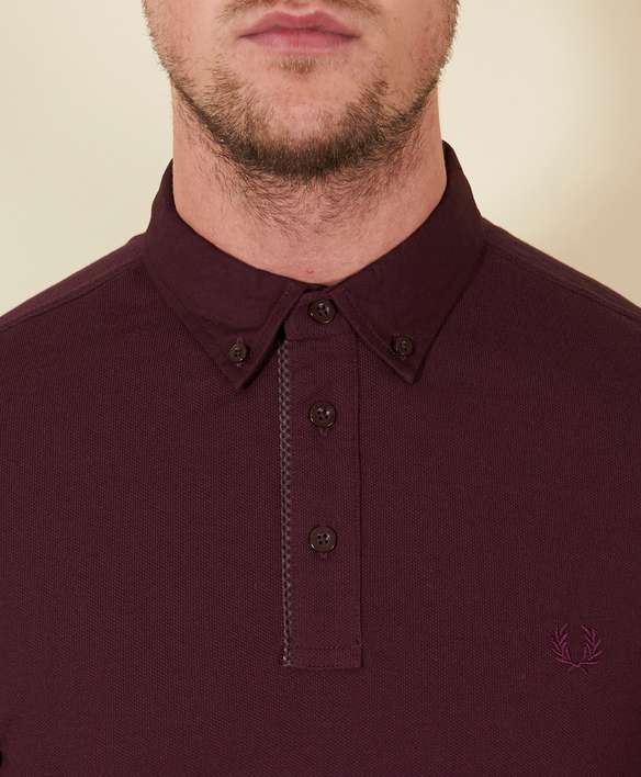 Fred Perry Gingham Trim Long Sleeve Polo Shirt