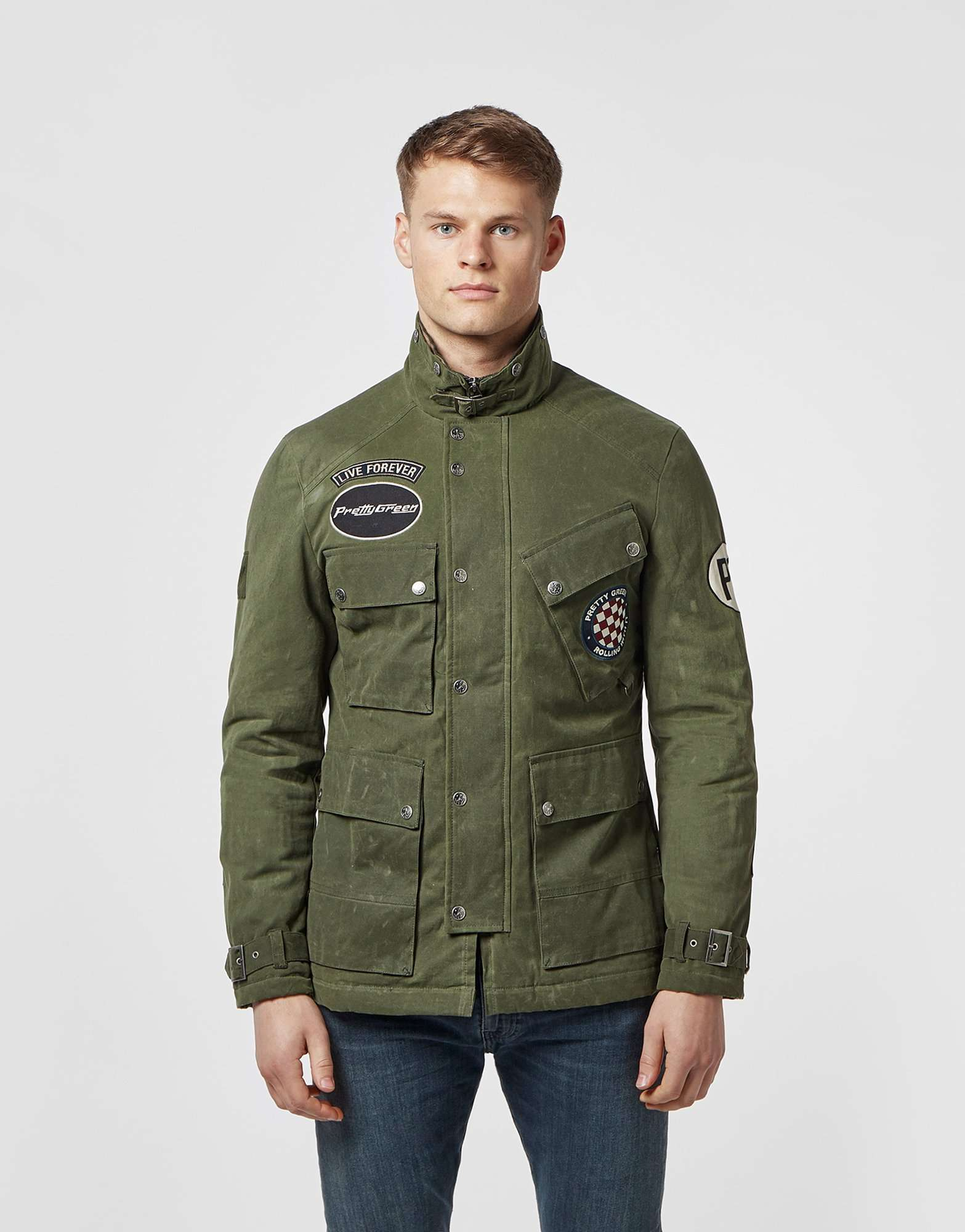 Pretty Green Racer Patch Waxed Jacket - Online Exclusive