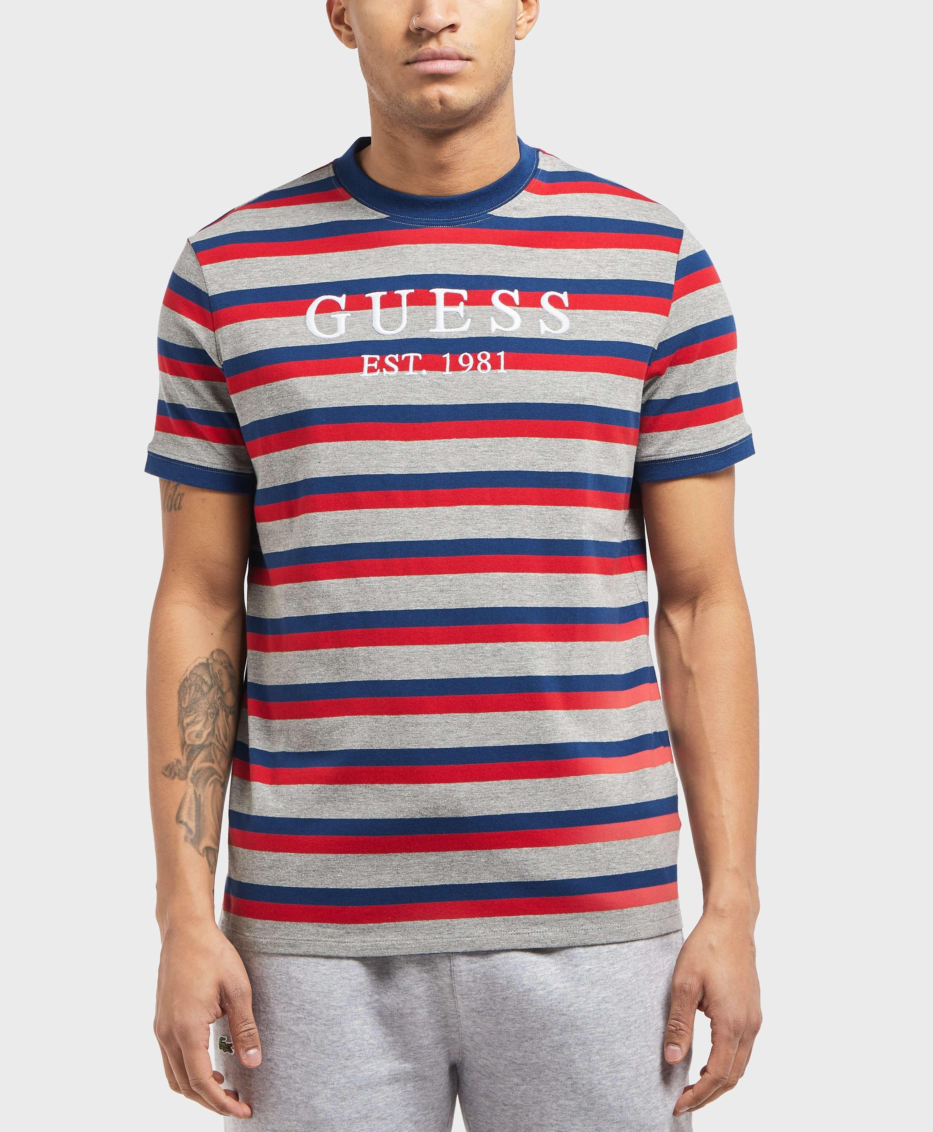 GUESS Short Sleeve Logo Stripe T-Shirt