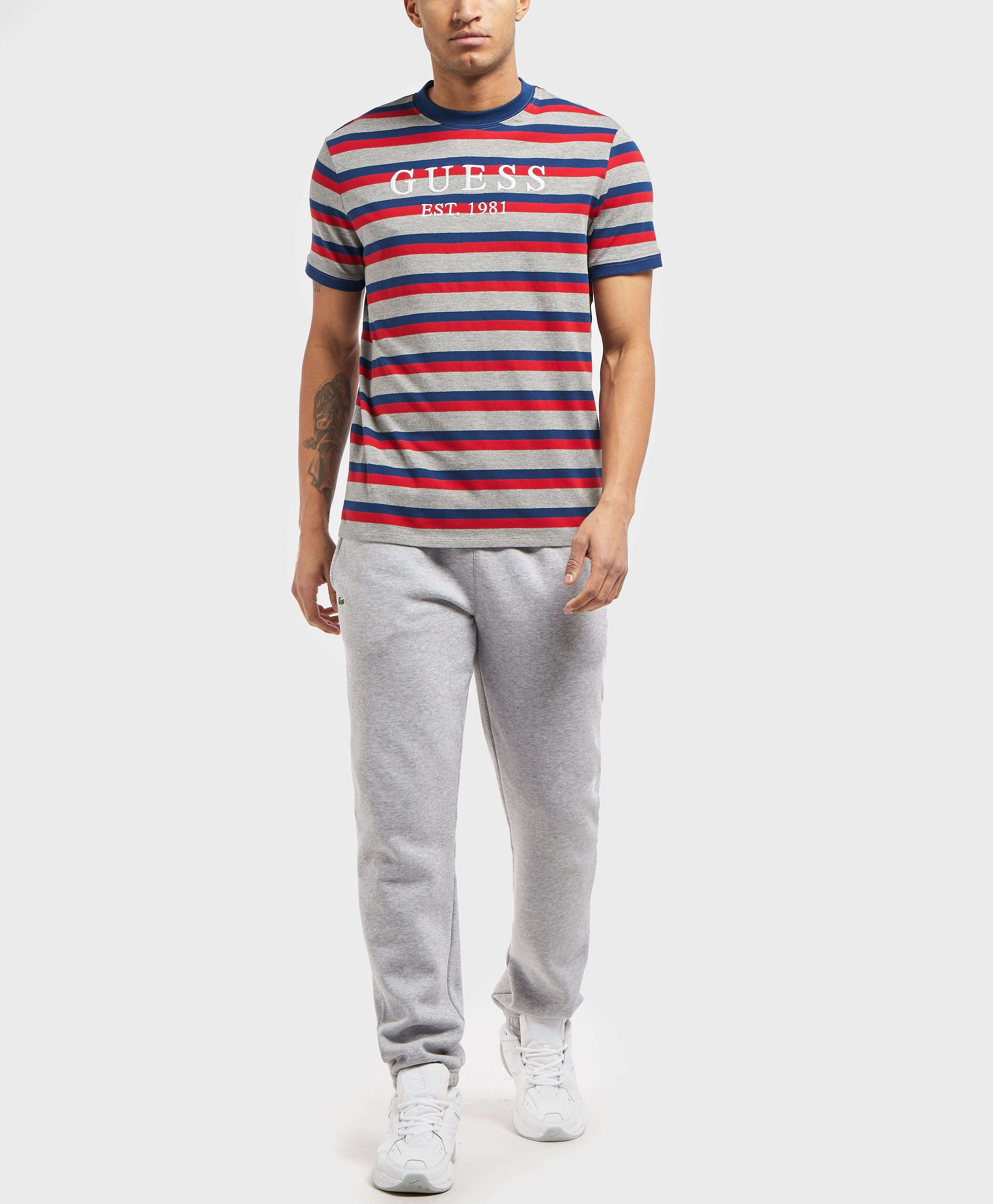 GUESS Short Sleeve Logo Stripe T-Shirt