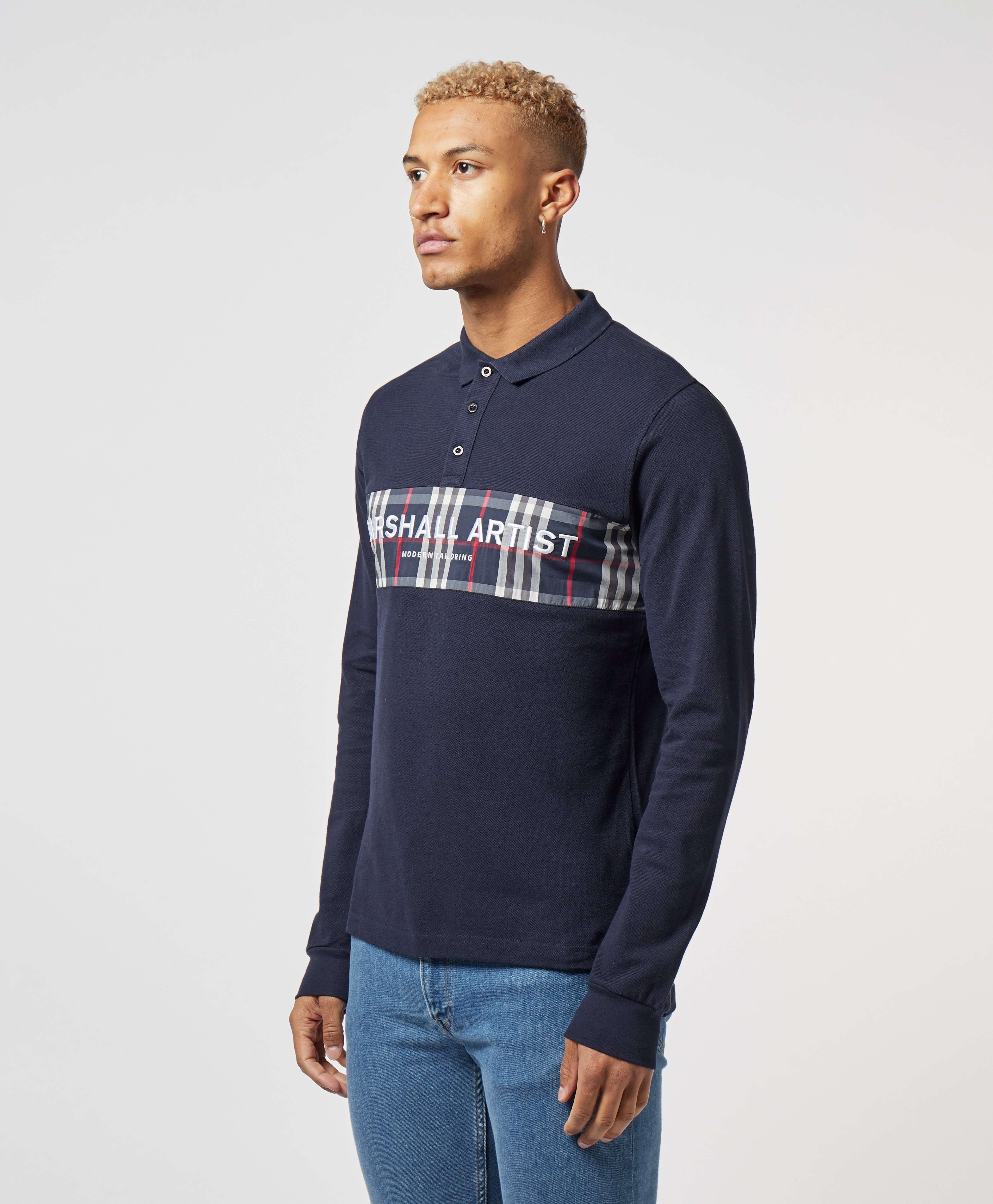 Marshall Artist Panel Long Sleeve Polo Shirt