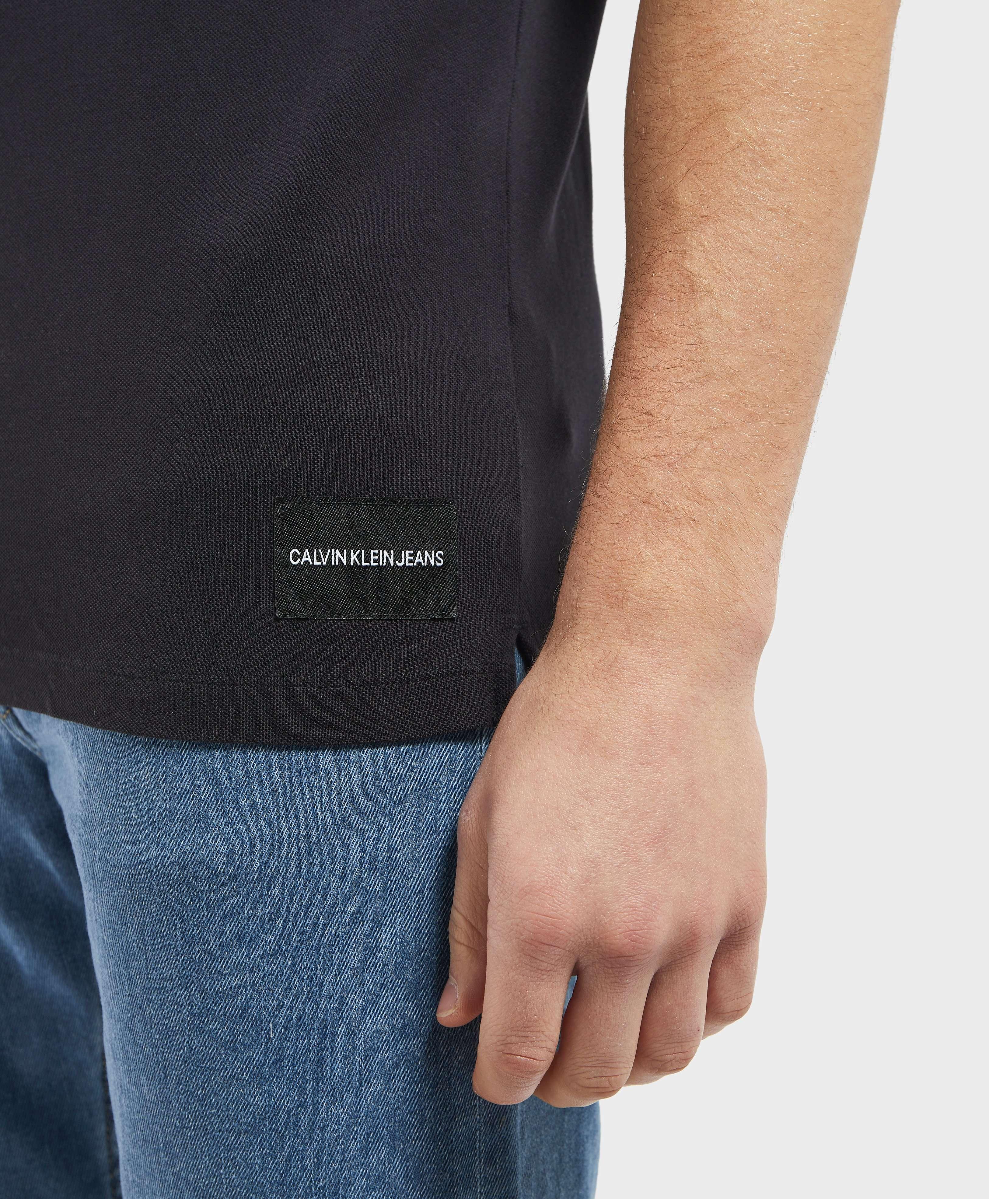 Calvin Klein Branded Collar Short Sleeve Polo Shirt