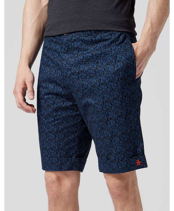 Original Penguin Floral Print Chino Shorts - Exclusive - Navy