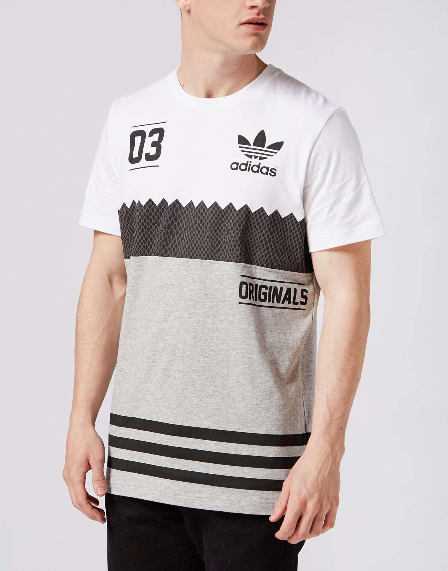 Adidas originali trifoglio dentellata t - shirt scotts maschili