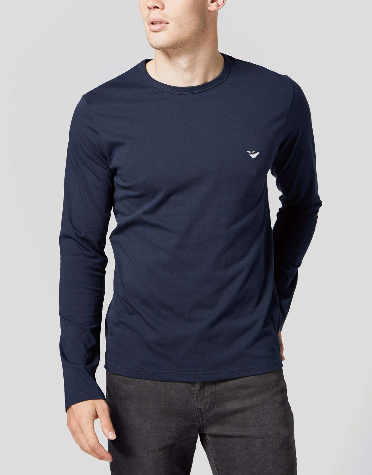 Shirt Crew Armani Neck Scotts Menswear Sleeved Emporio T Long xwFYZTZqa