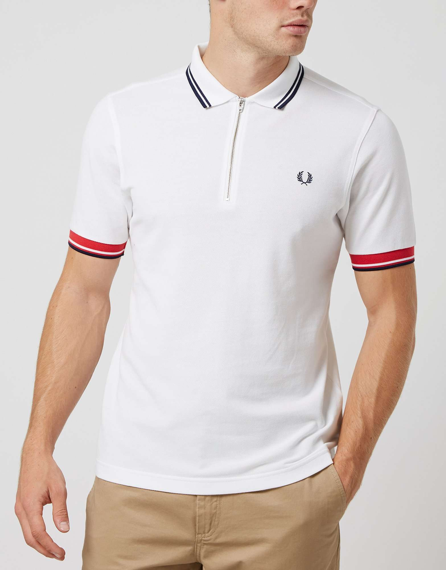 fred perry zip pique twin tipped polo shirt scotts menswear. Black Bedroom Furniture Sets. Home Design Ideas