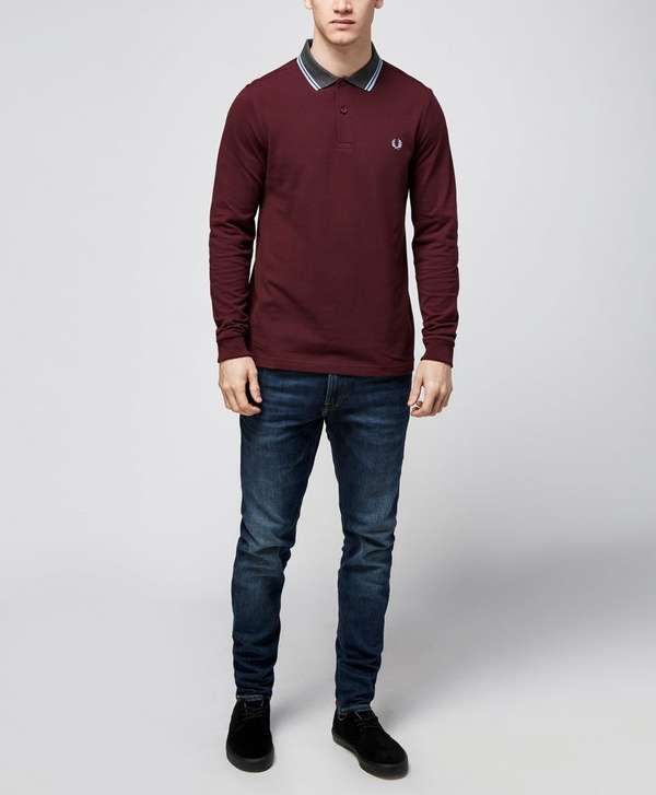 Fred Perry Contrast Collar Long Sleeved Polo Shirt