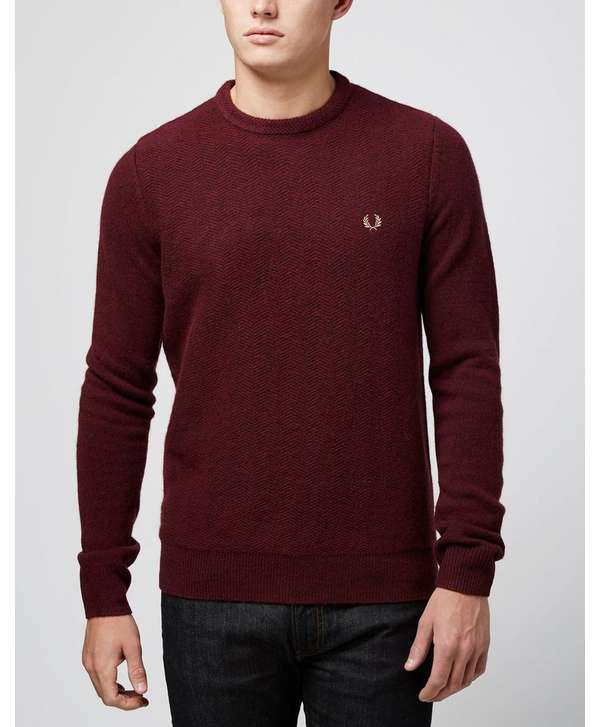 Fred Perry Texture Knit Sweater - Burgundy