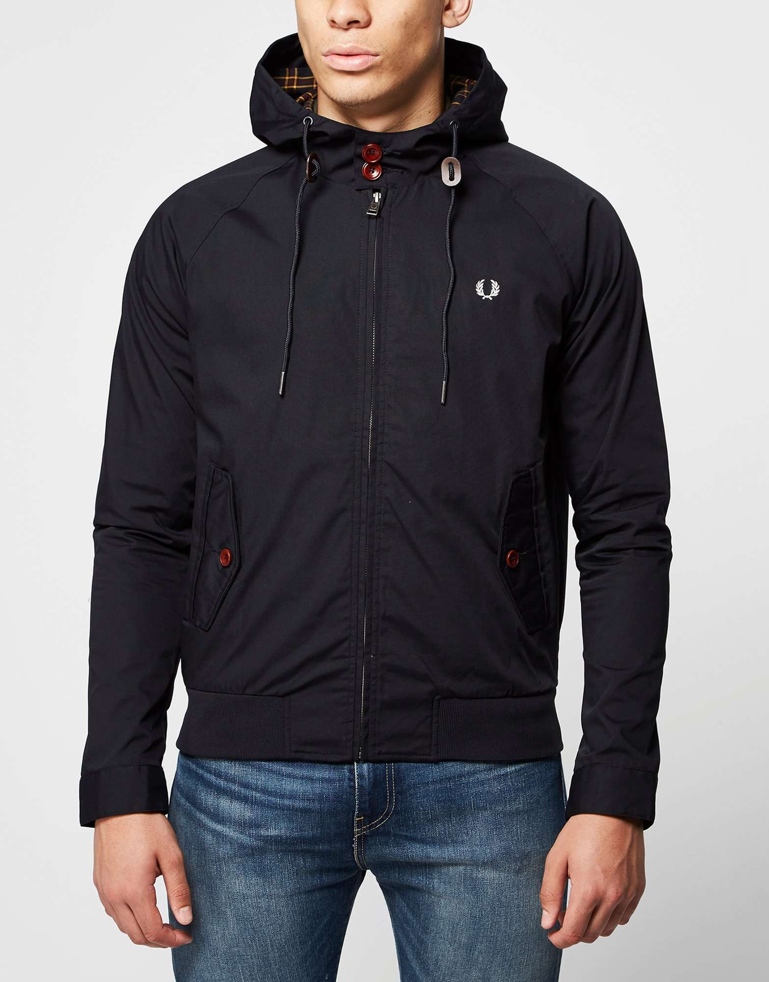 fred perry hooded harrington jacket scotts menswear. Black Bedroom Furniture Sets. Home Design Ideas