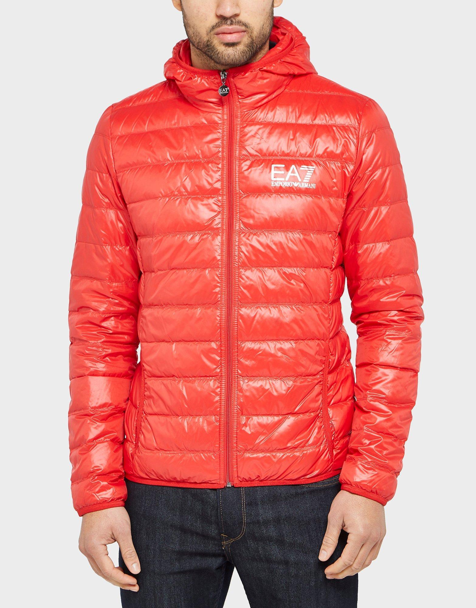 Red and black armani coat