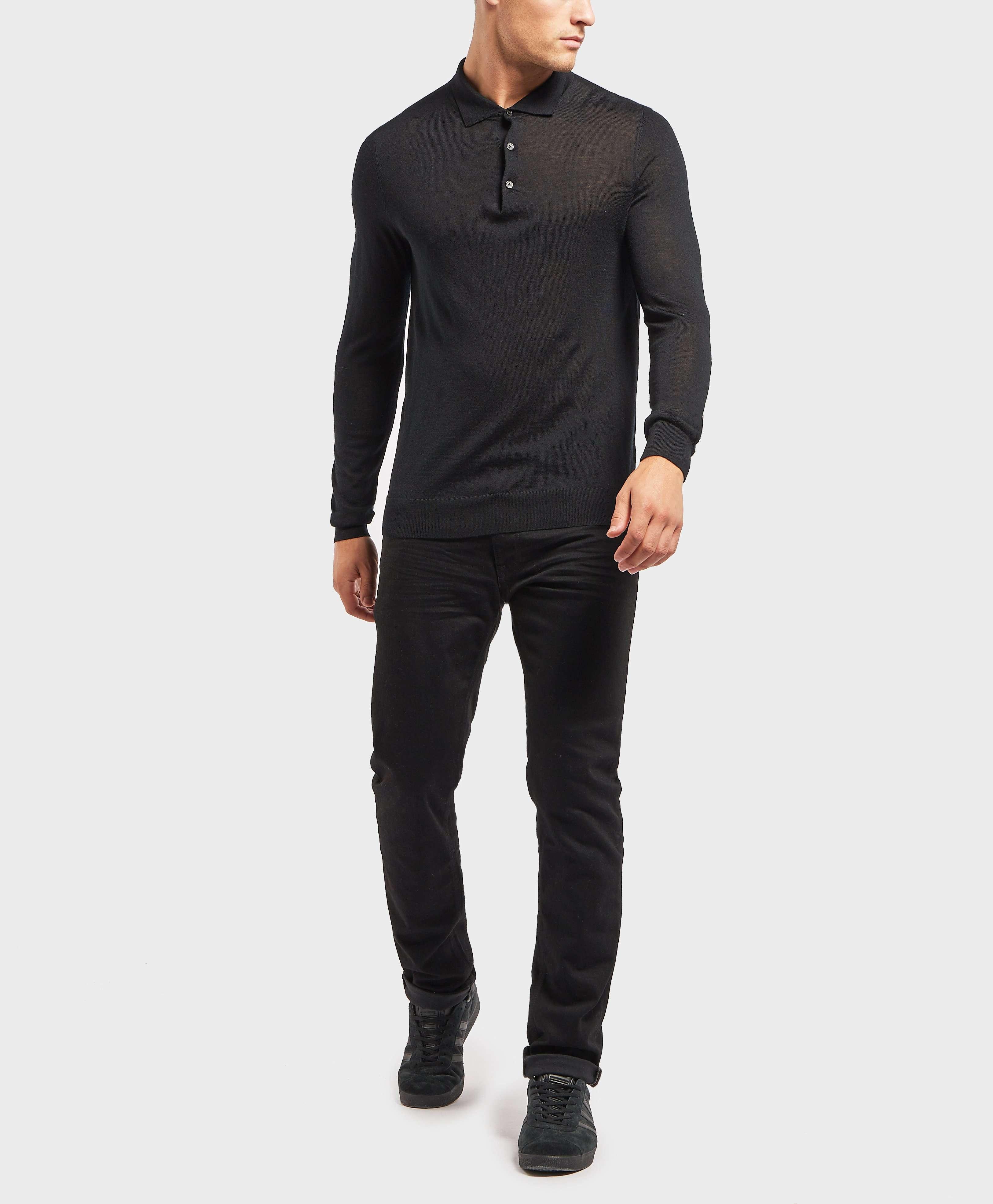 HUGO Knit Long Sleeve Polo Shirt