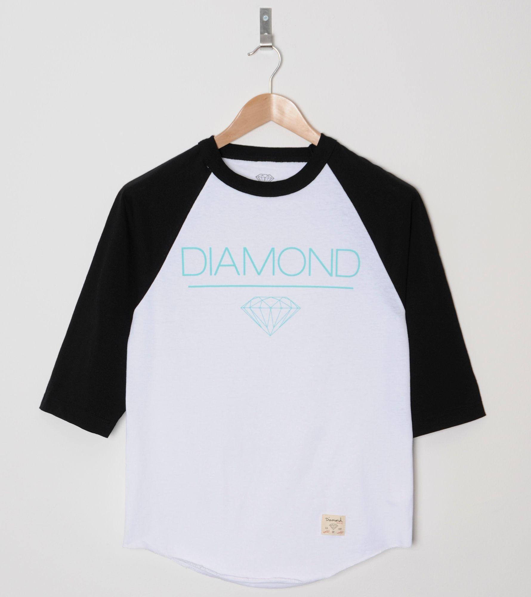 Diamond supply whitespace raglan t shirt size for Wholesale diamond supply co shirts