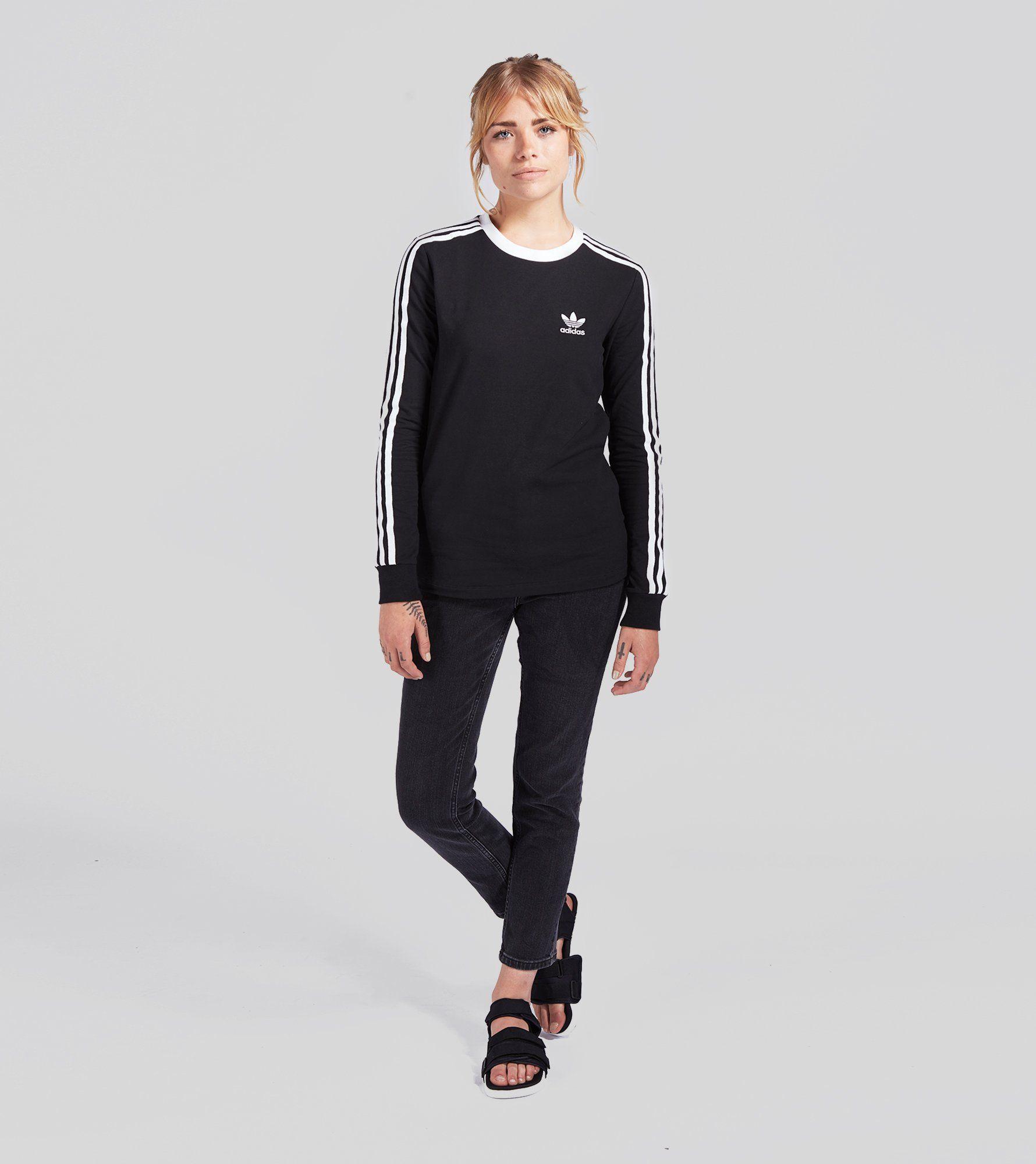 9e441cd1b44b Adidas Originals Black Three Stripe Long Sleeve T Shirt Womens