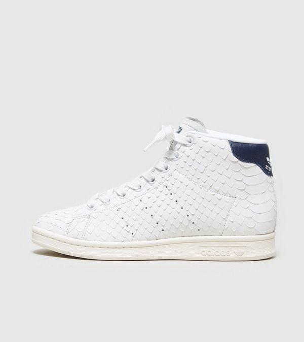 adidas originals white & black stan smith mid top sneakers