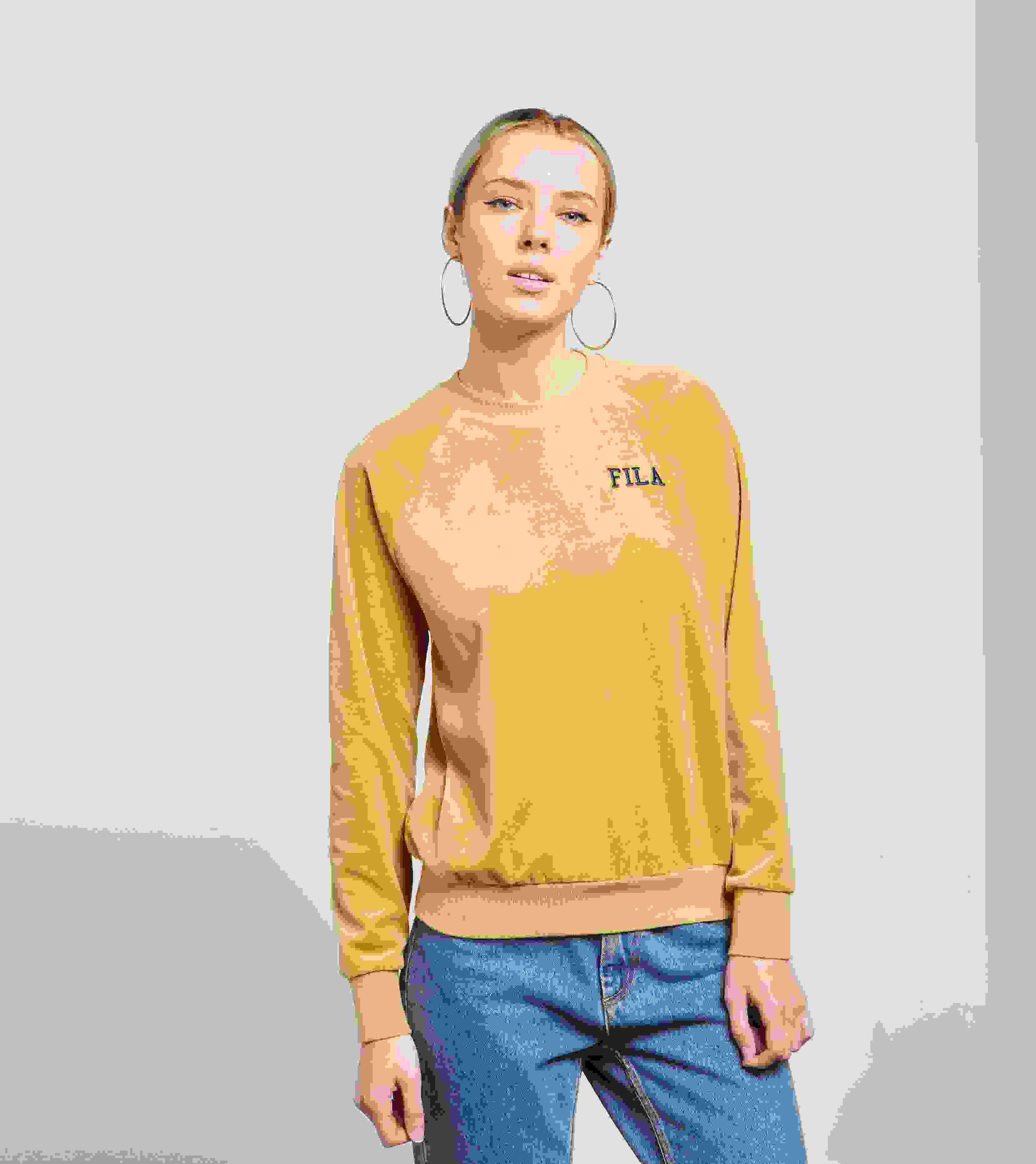 fila yellow top. fila cyndi logo sweatshirt yellow top a