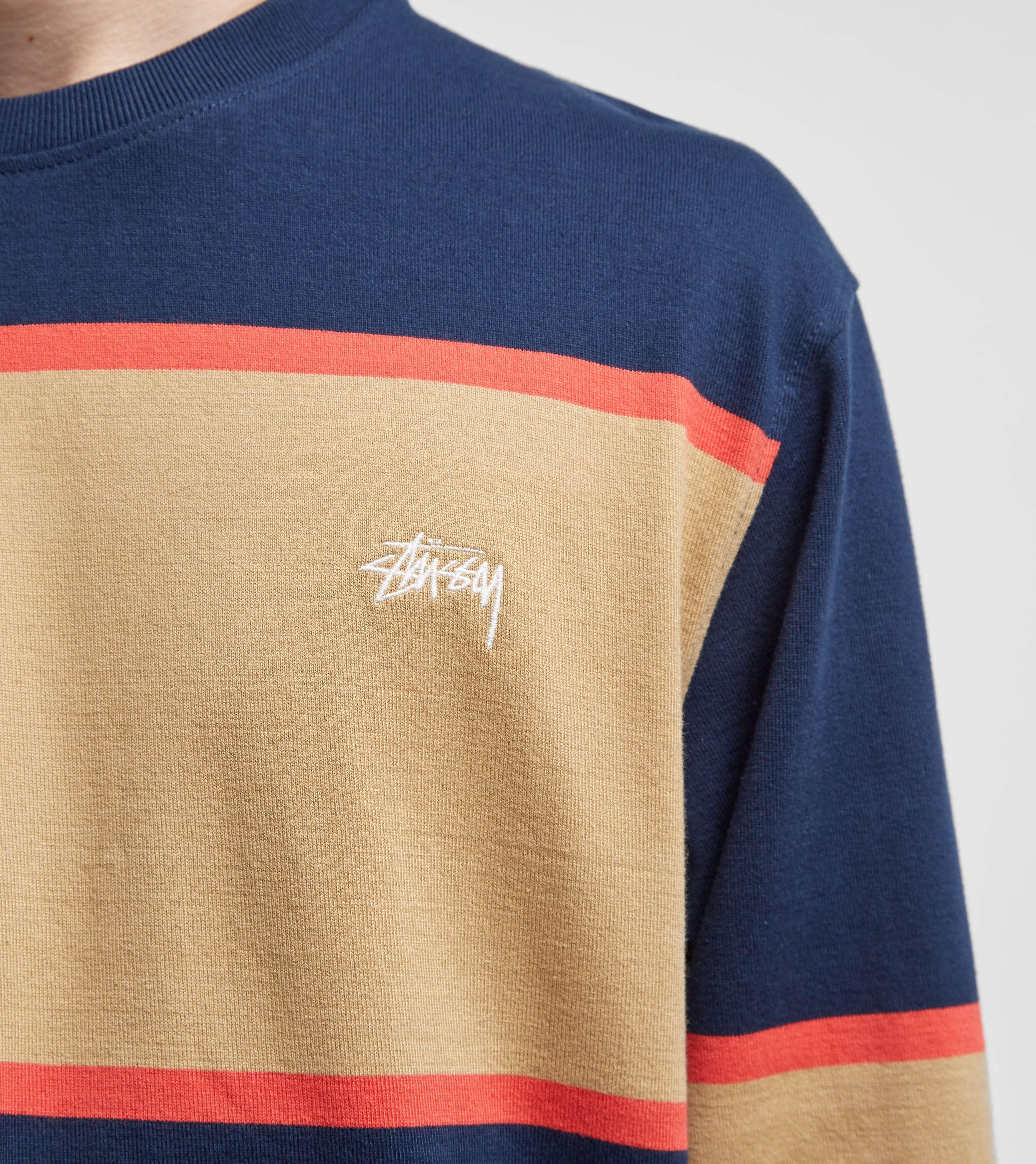 Stussy Jeromy Stripe Long Sleeve Crewneck T-Shirt