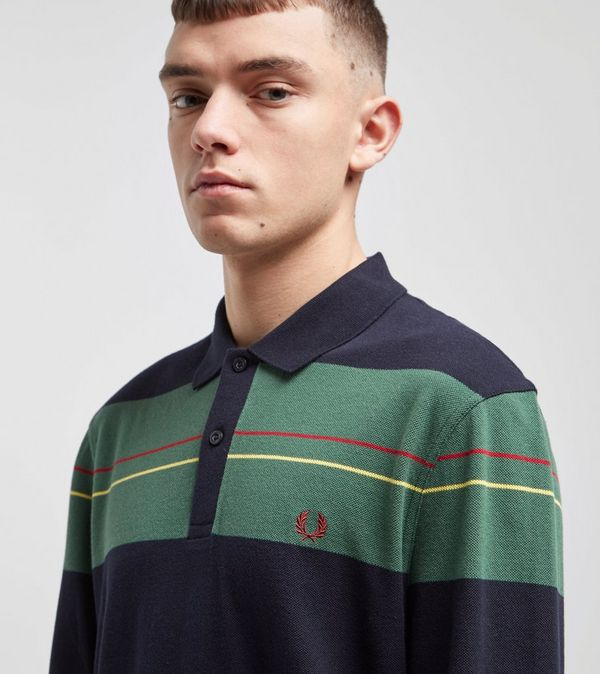 Fred Perry Panelled Stripe Long Sleeve Polo Shirt  4a1a38382396