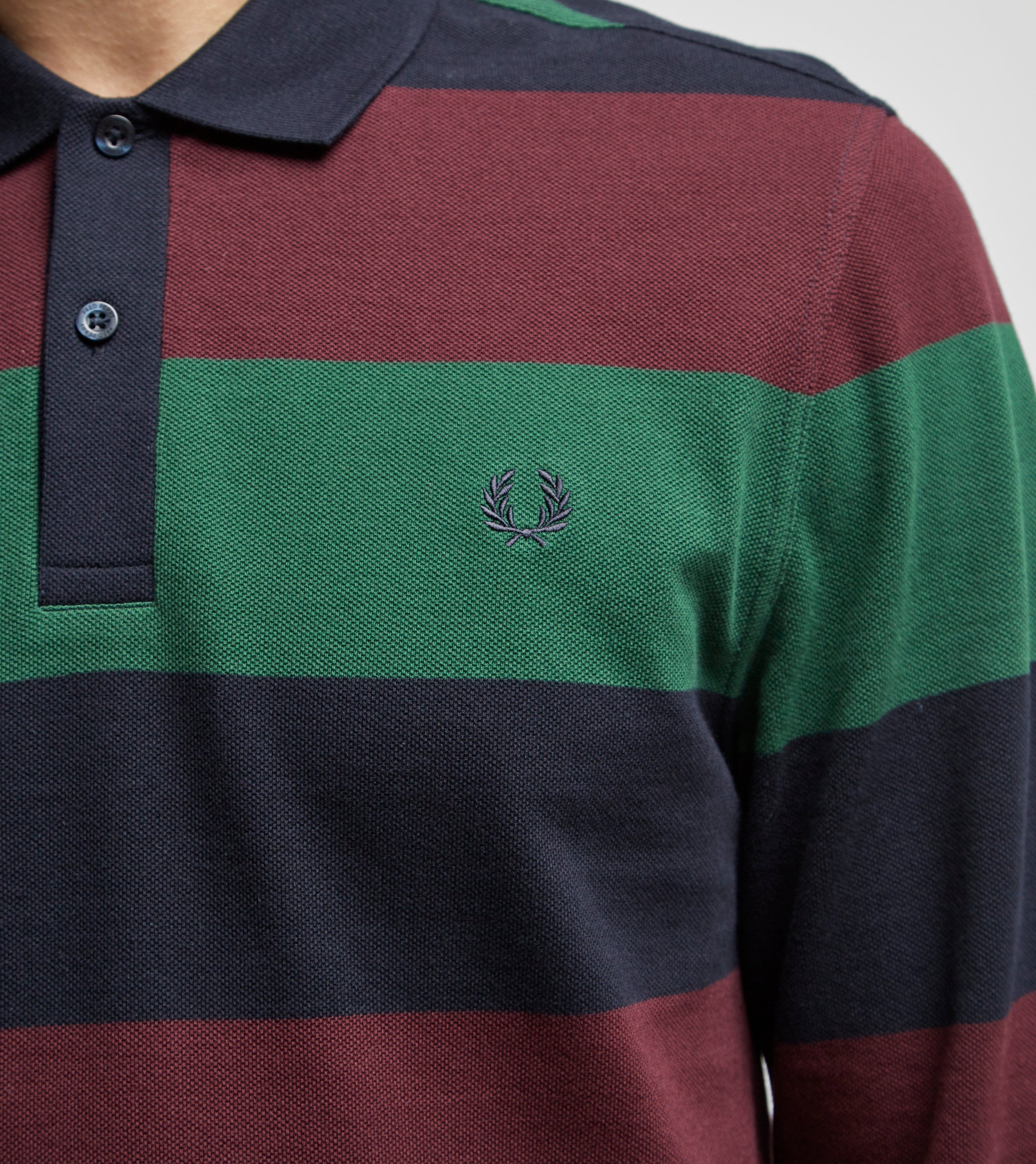 Fred Perry Large Stripe Long Sleeve Polo Shirt
